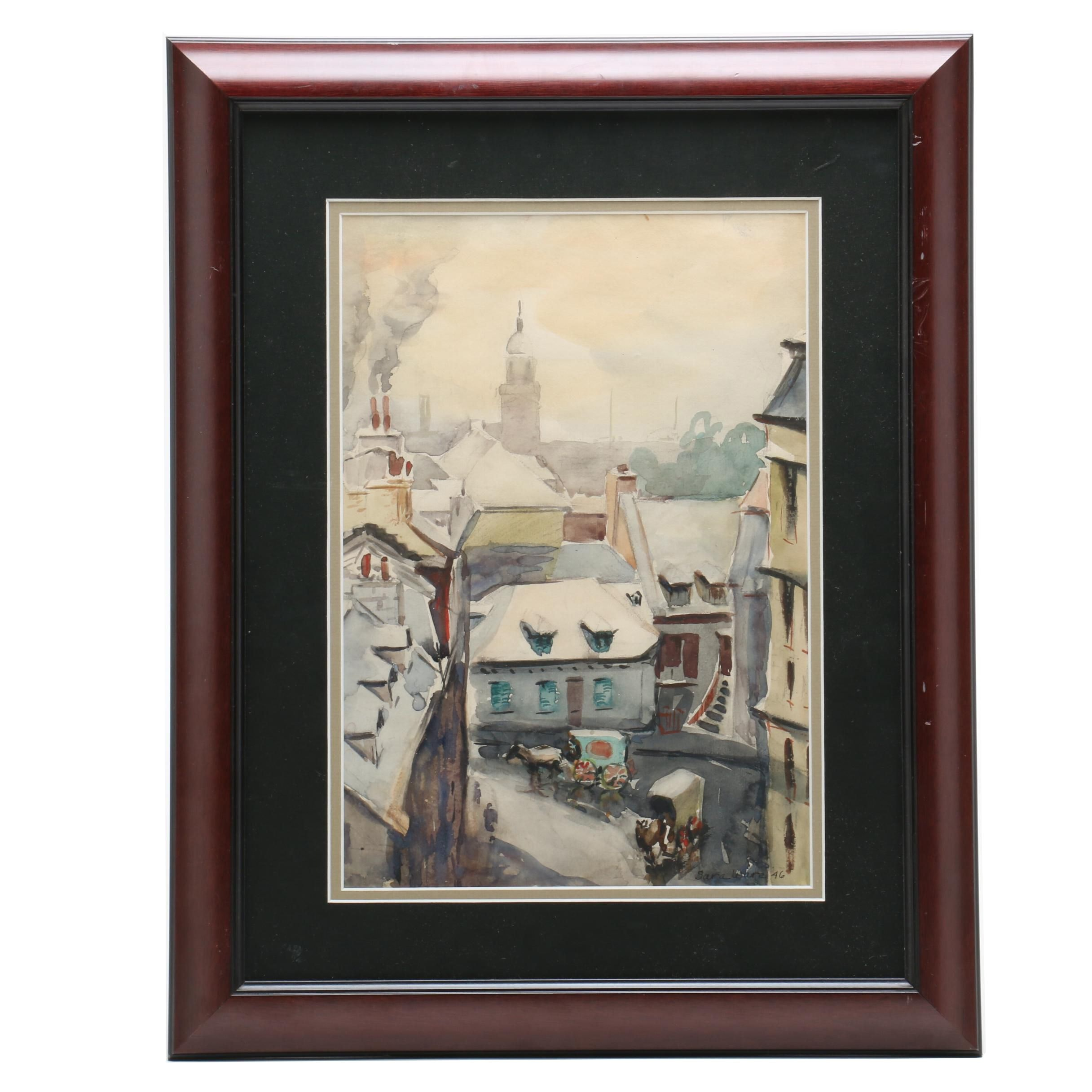 """Sara Gofton Ware Watercolor Painting """"City Scene with Horses and Buggies"""""""
