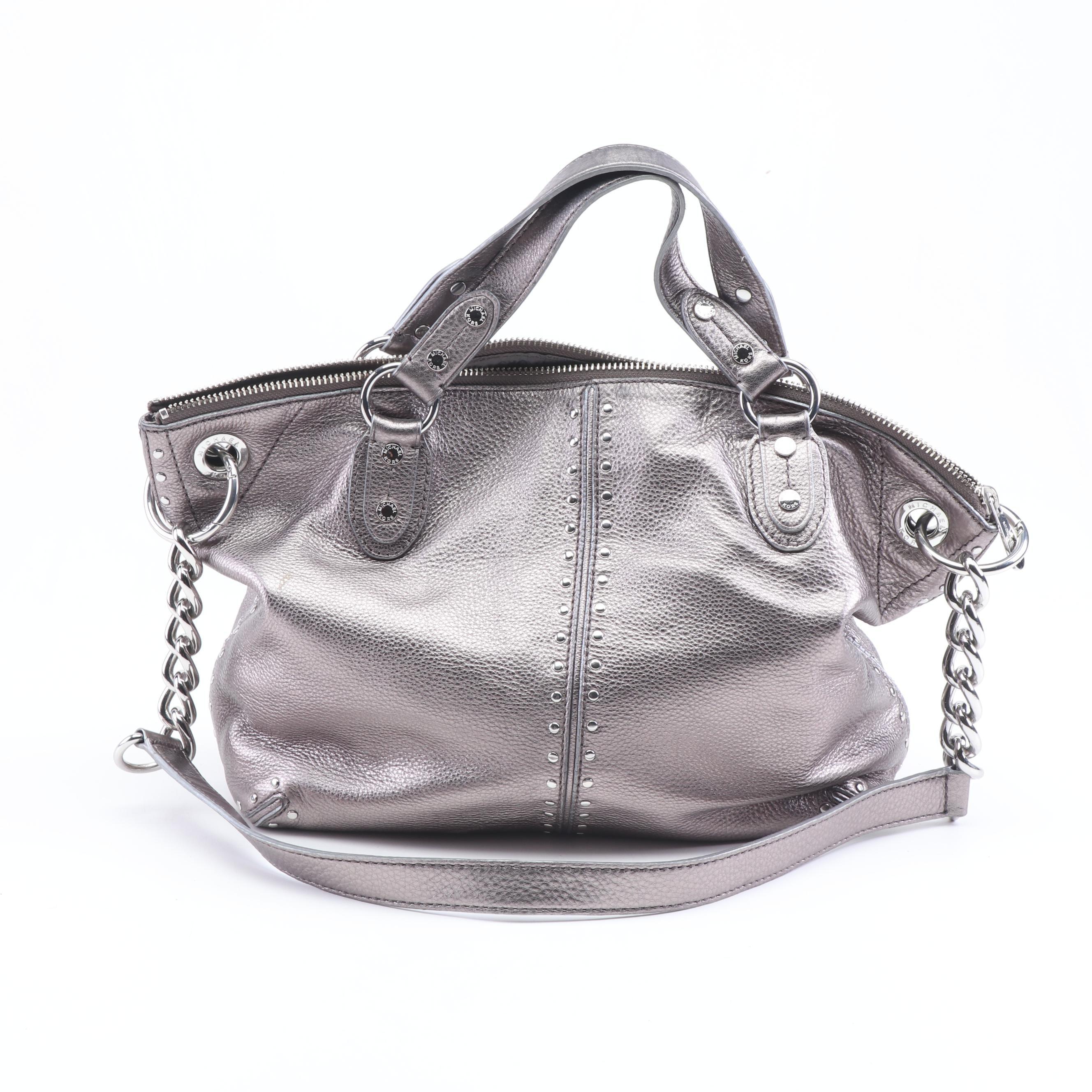 MICHAEL Michael Kors Silver Metallic Pebbled Leather Convertible Handbag