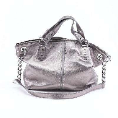 fc3c05520fe MICHAEL Michael Kors Silver Metallic Pebbled Leather Convertible Handbag.  Pickup Available EBTH Boston