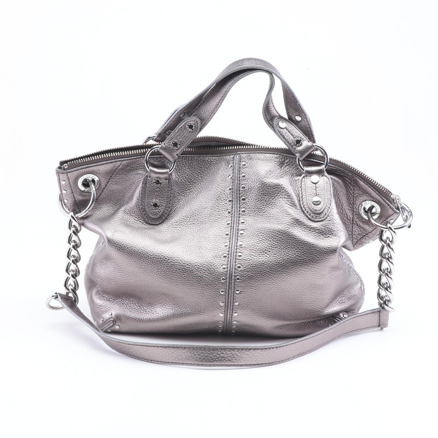e861ab43f612 MICHAEL Michael Kors Silver Metallic Pebbled Leather Convertible Handbag :  EBTH