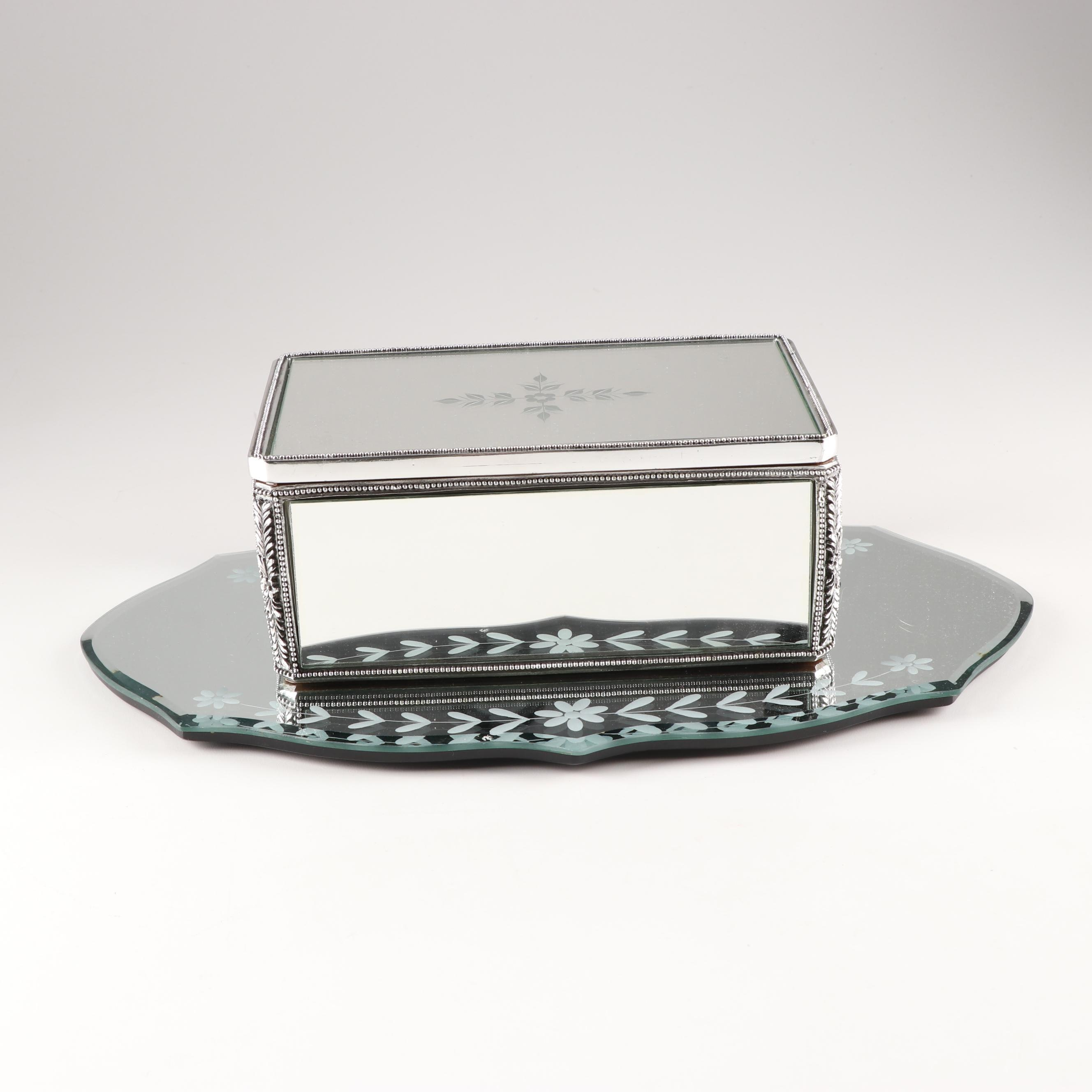 Etched Mirror and Vanity Box