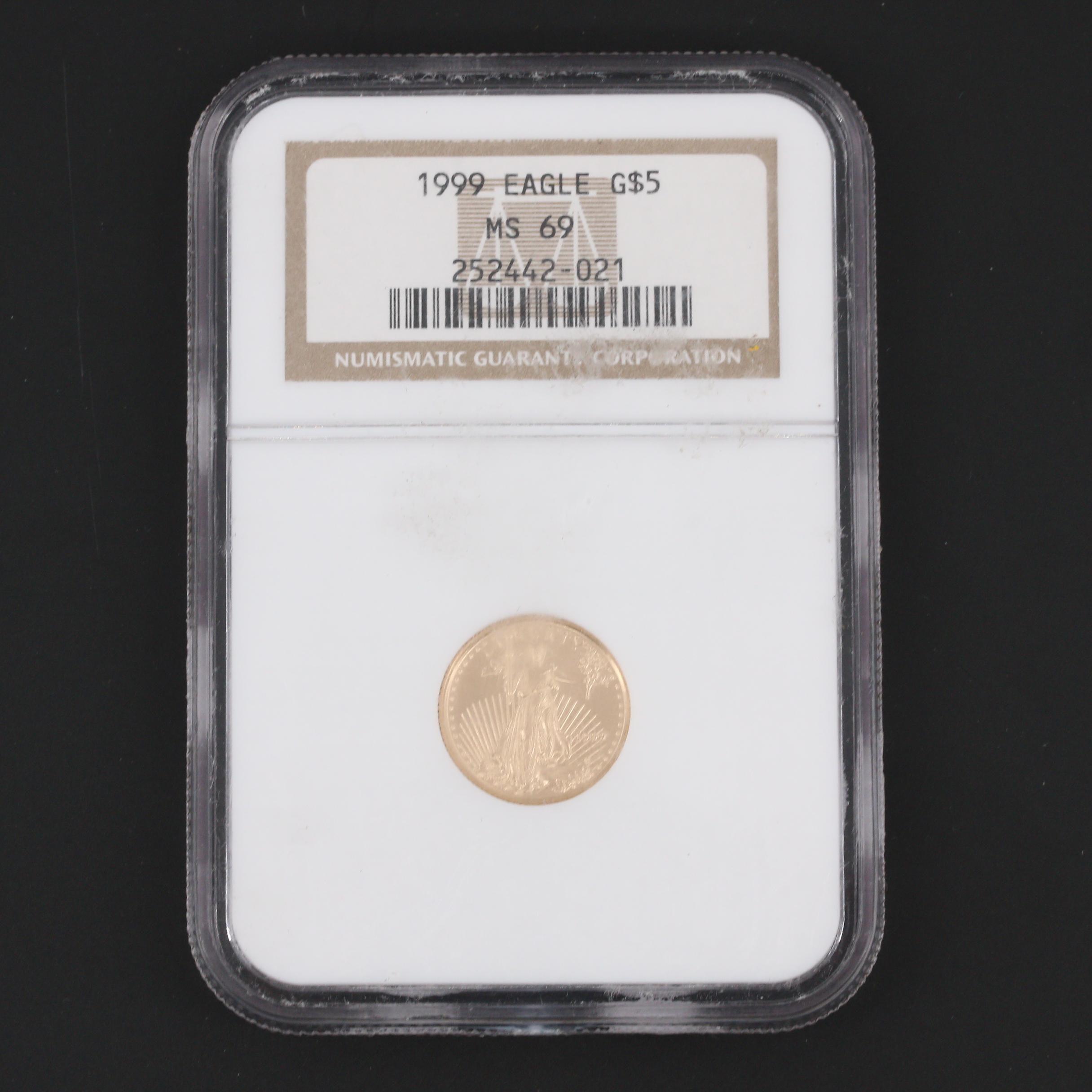 NGC Graded MS69 1999 $5 Gold Eagle 1/10 Oz. Bullion Coin