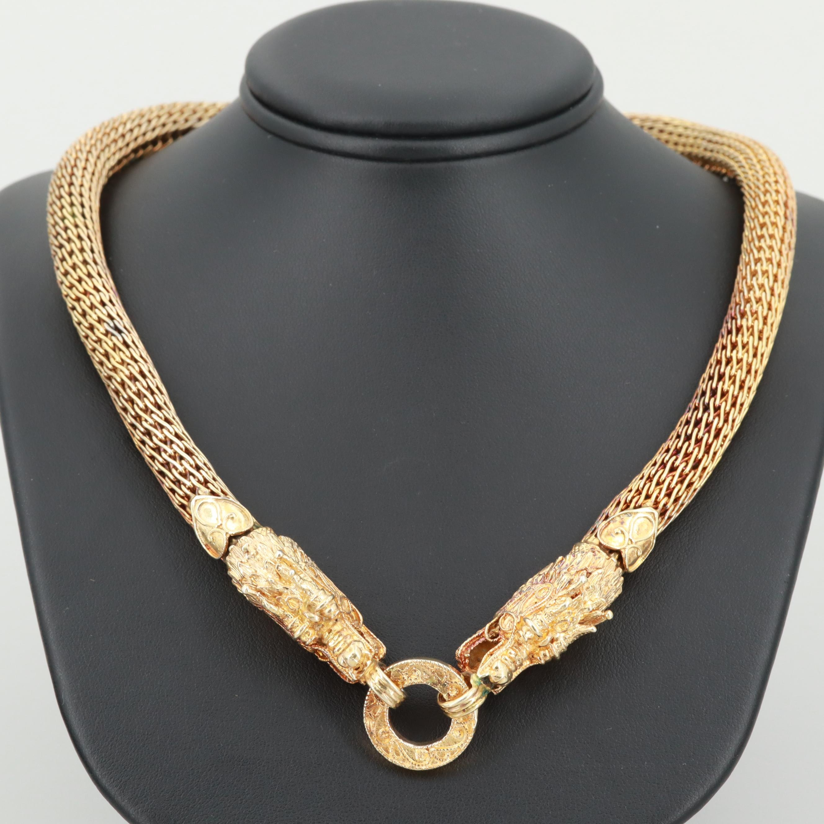 Chinese Inspired Gold Wash on Sterling Silver Double Dragon Statement Necklace