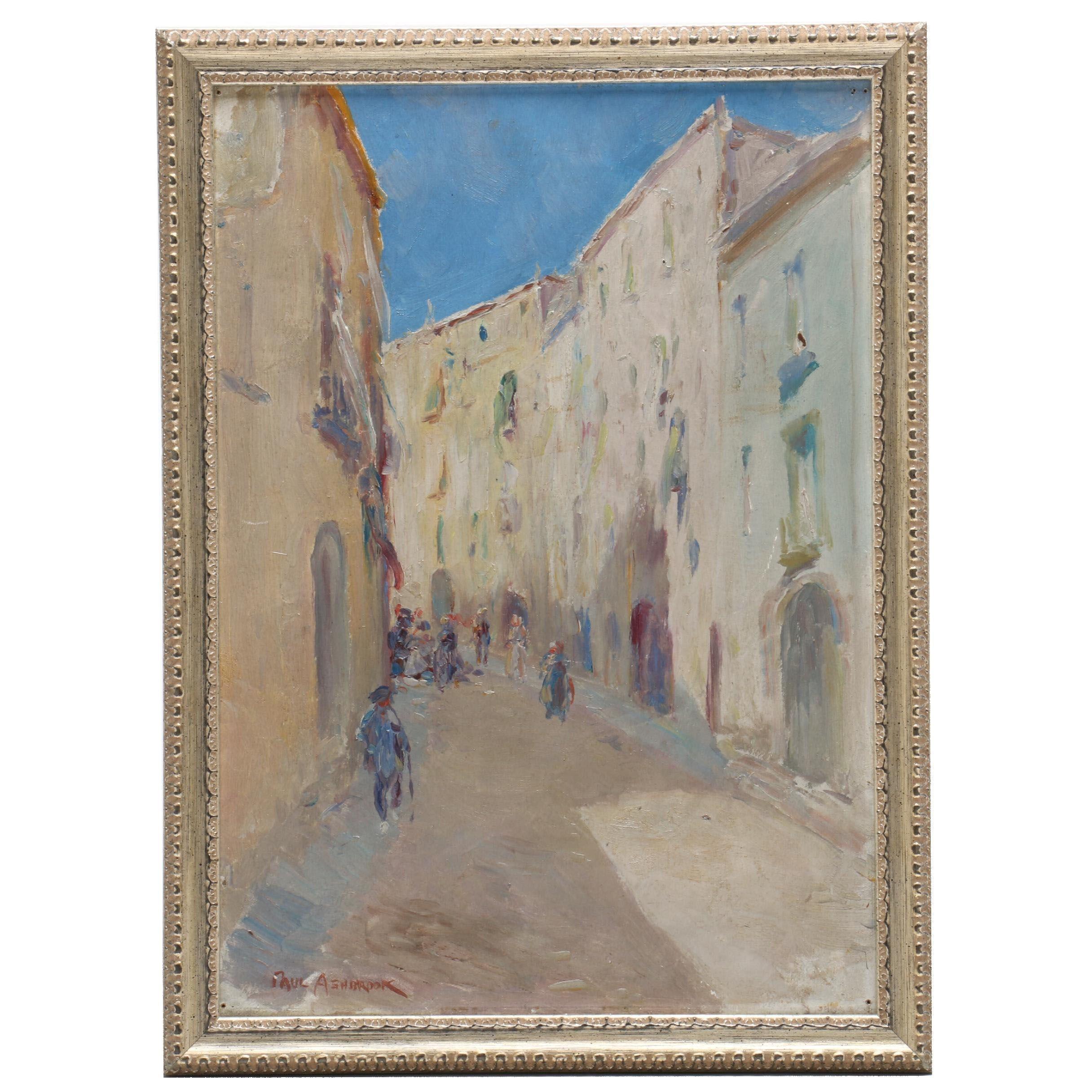 "Paul Ashbrook Oil Painting ""Street Scene Tarragona"""