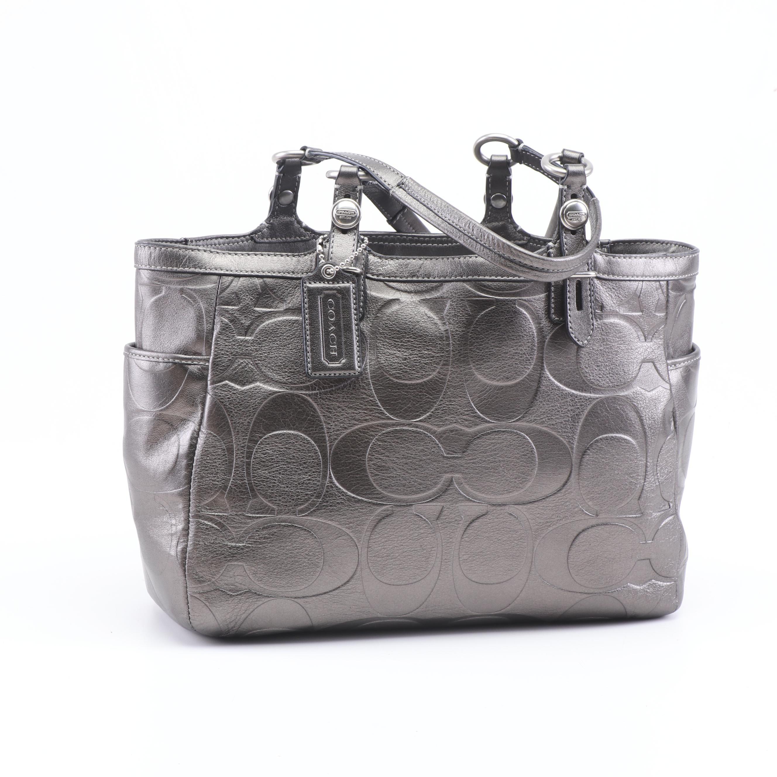 Coach Signature Gunmetal Metallic Leather Tote Bag