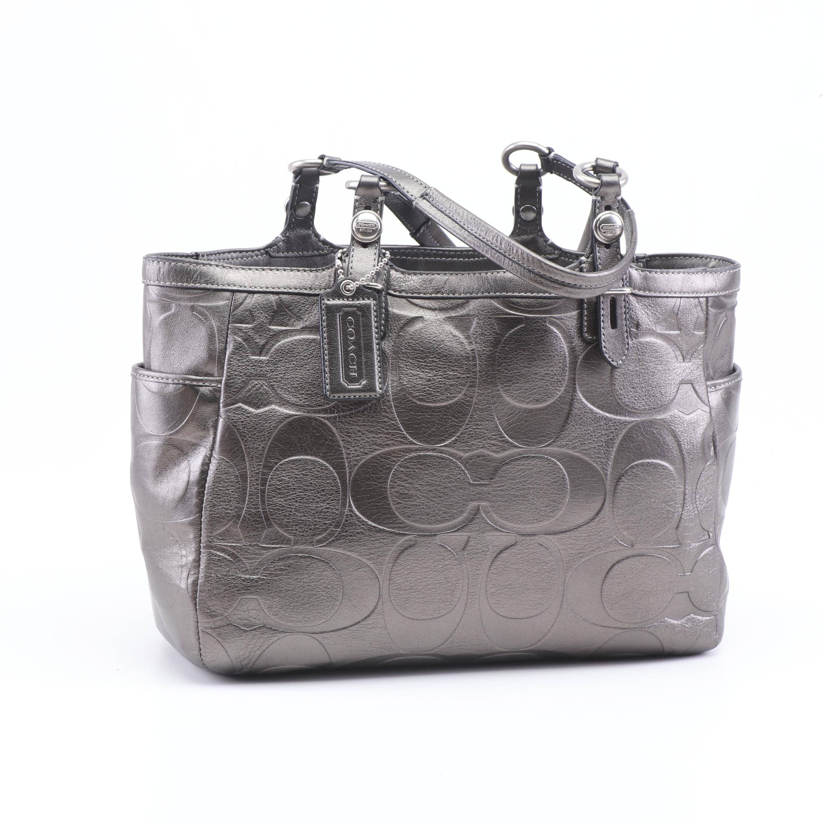 Coach Signature Gunmetal Metallic Leather Tote Bag