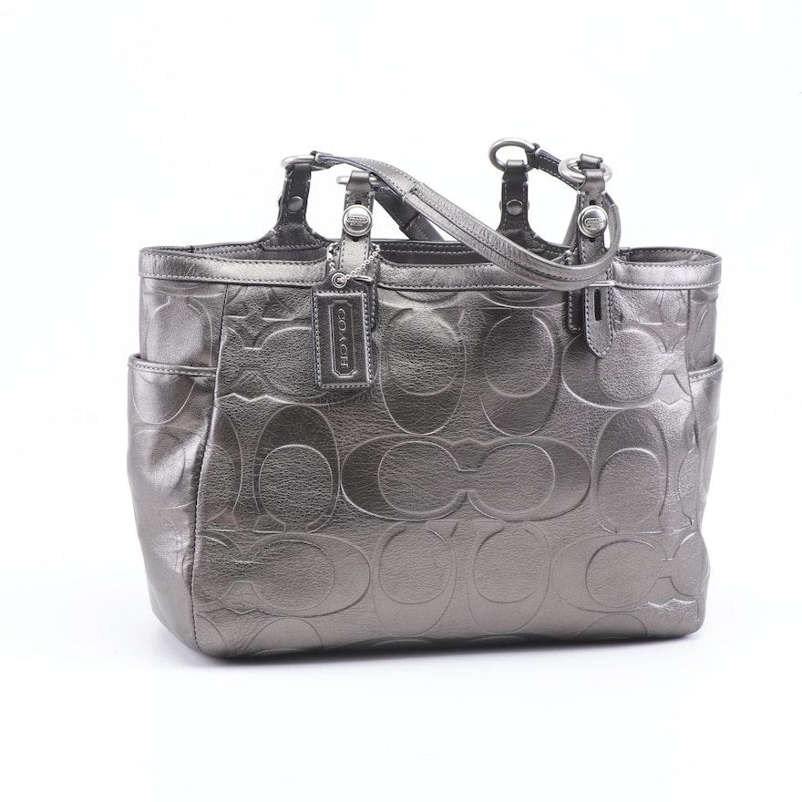 2d3e12ecf84c Coach Signature Gunmetal Metallic Leather Tote Bag : EBTH