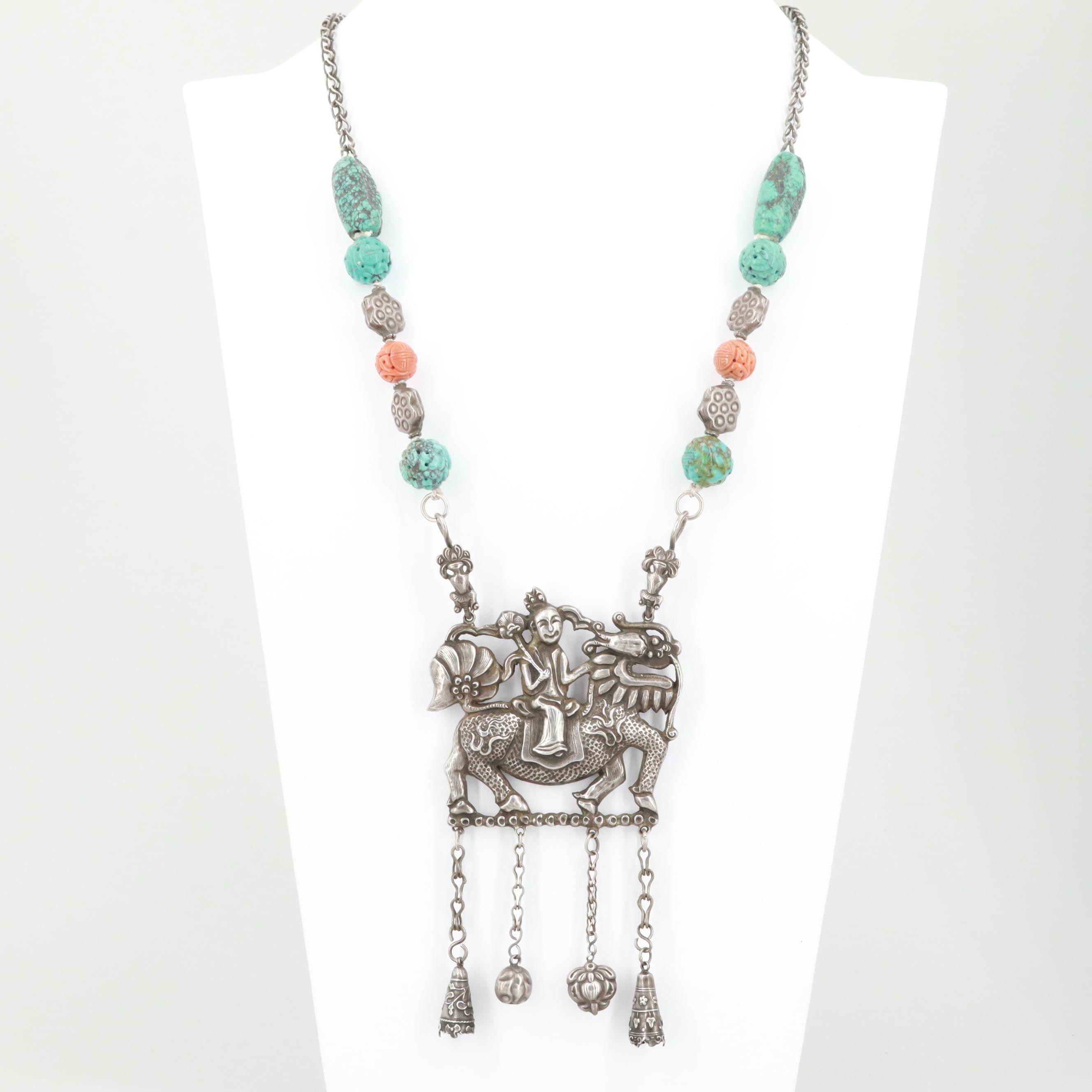 Chinese 800 Silver Turquoise and Coral Qilin Necklace, Late Qing Dynasty
