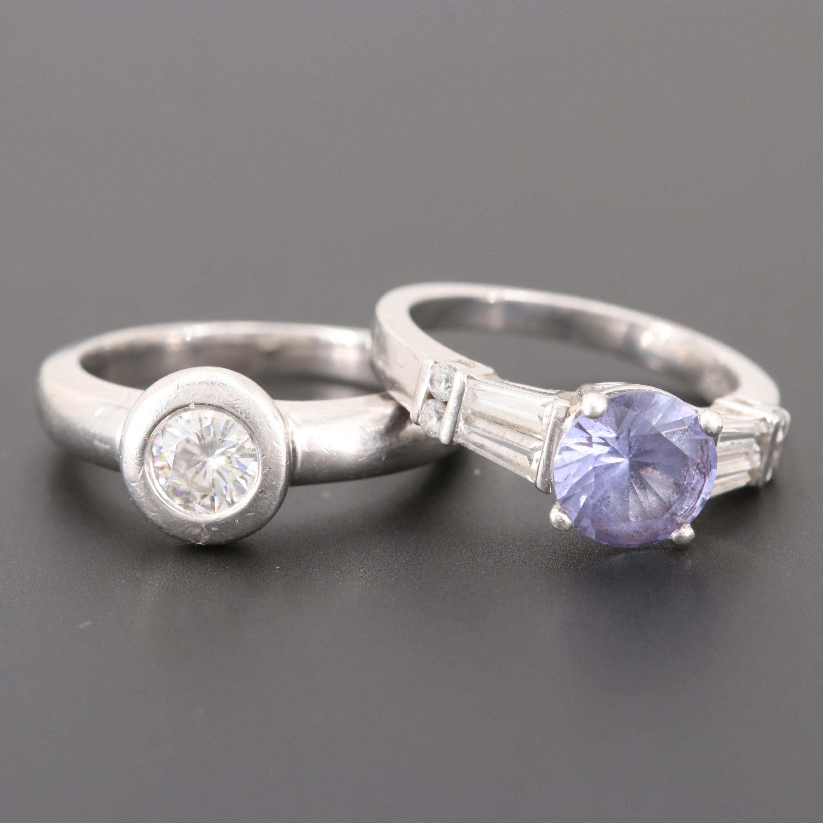 Sterling Silver Synthetic Color-Change Sapphire and Moissanite Rings