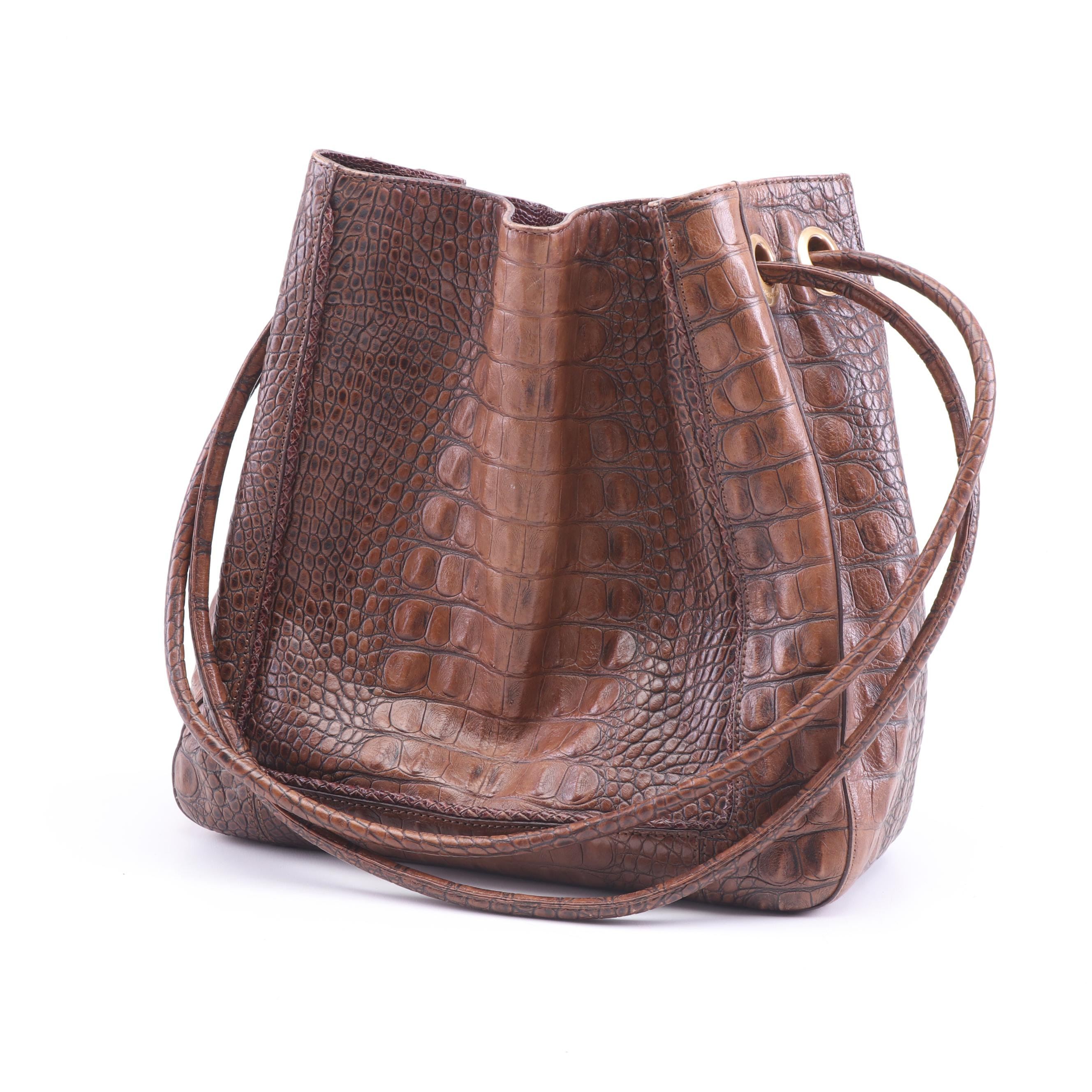 Brahmin Crocodile Embossed Brown Leather Bucket Shoulder Bag