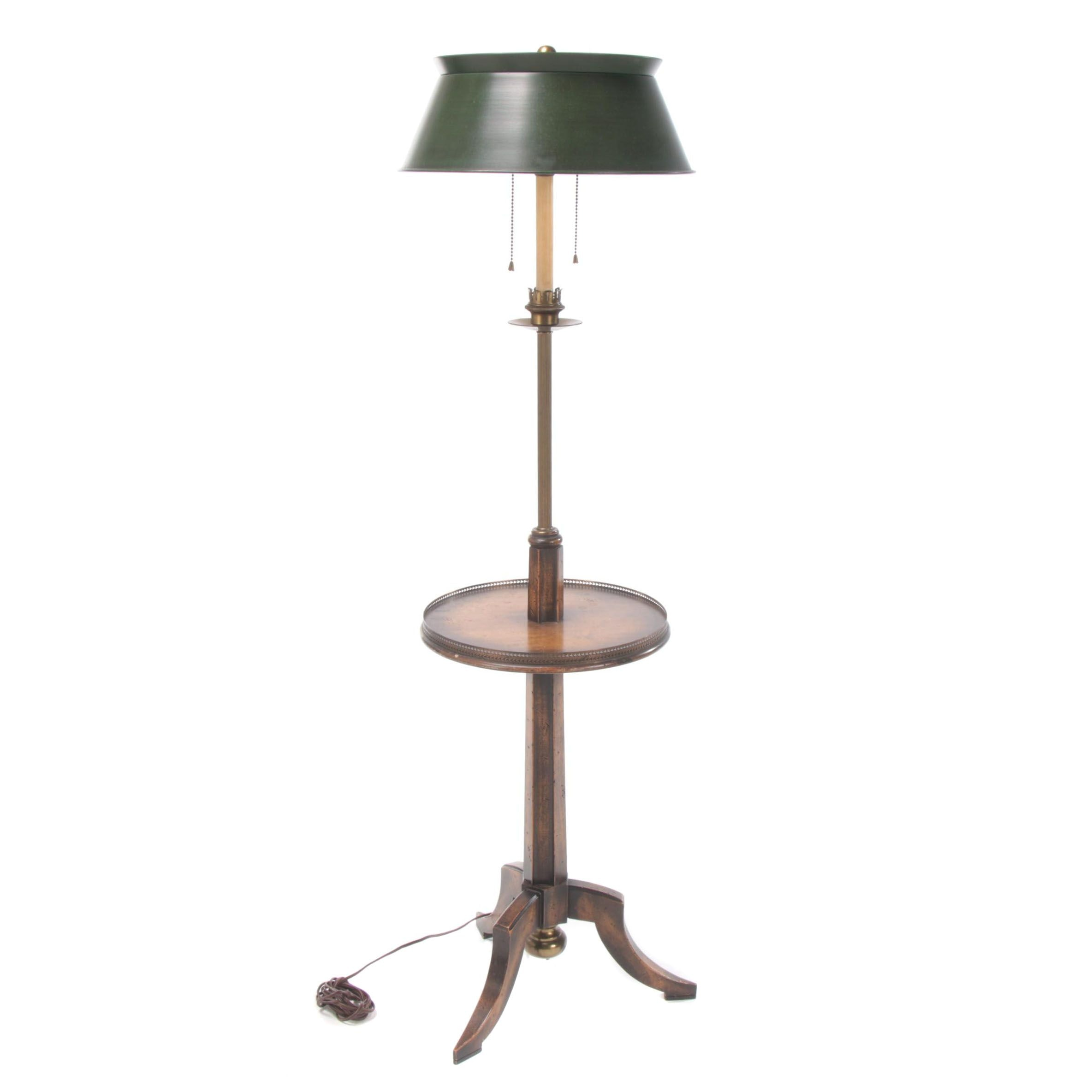 Frederick Cooper, Tripod Floor Lamp with Tabletop and Tole Shade, 20th Century