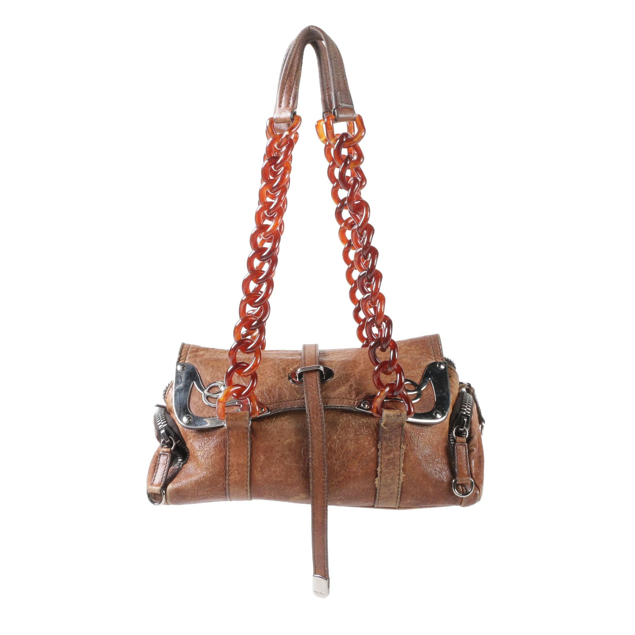 Miu Miu Distressed Leather Flap Front Bag with Silver Tone Corner Accents