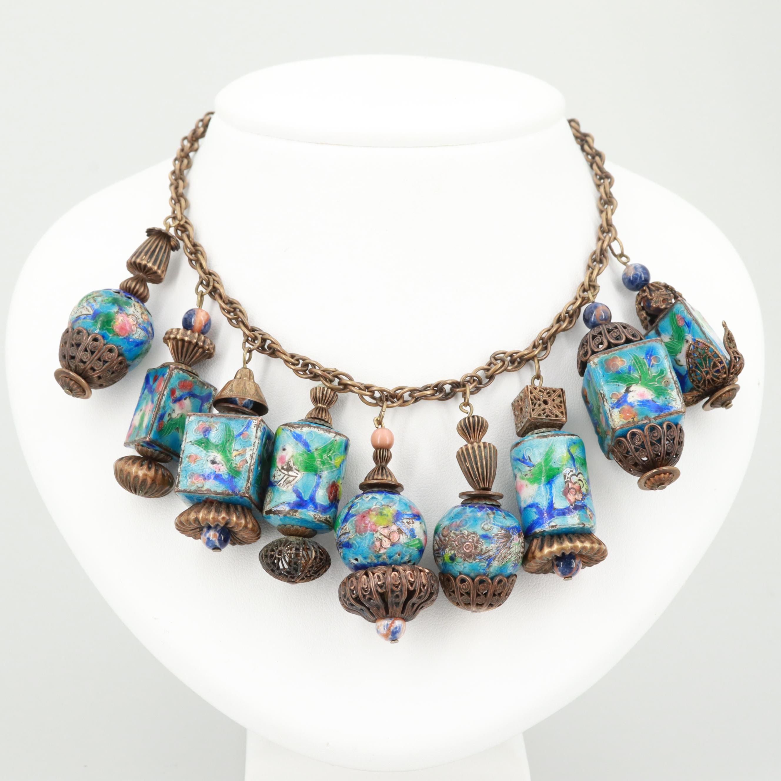 Attributed to Miriam Haskell Chinese Enamel and Glass Bead Necklace, 1930s