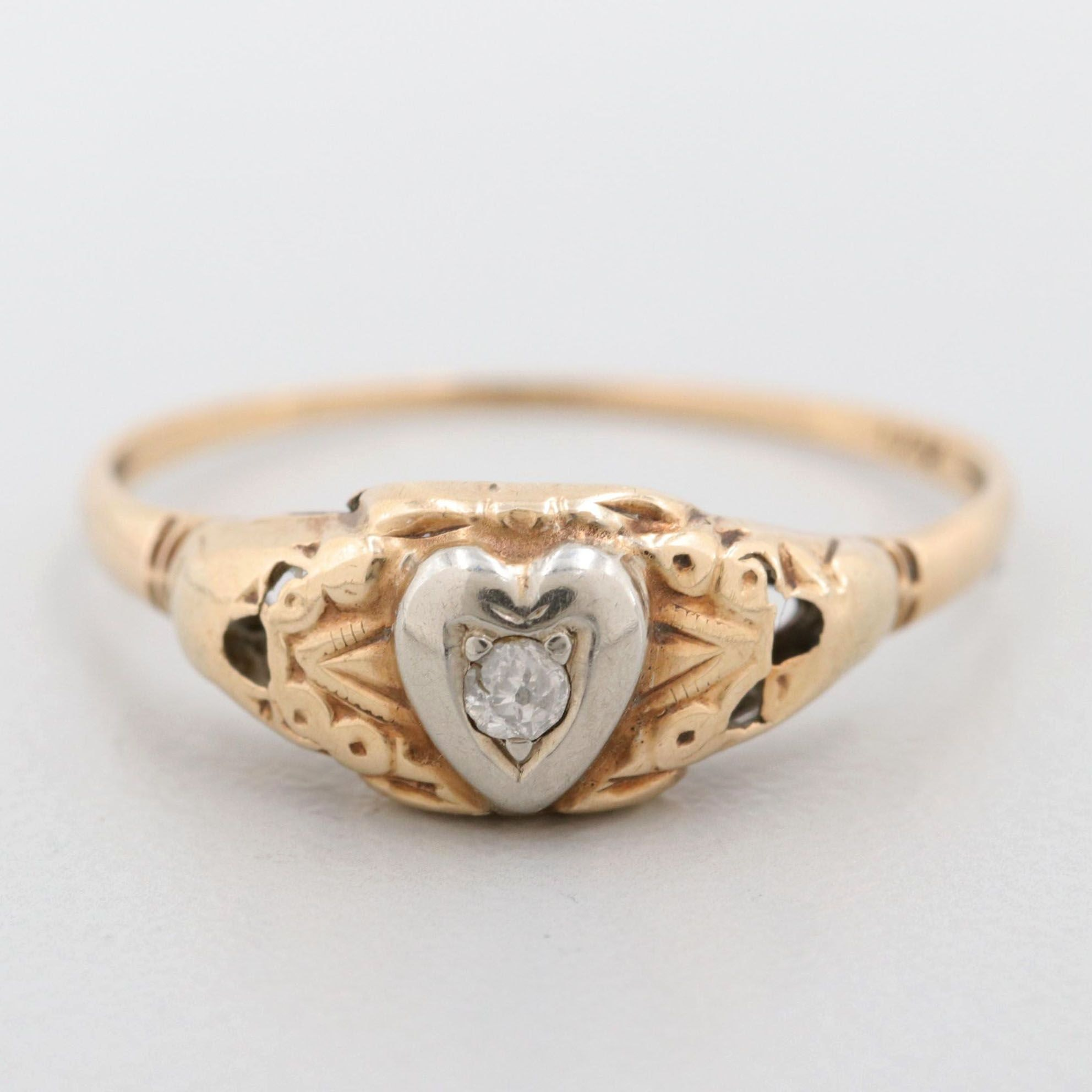 14K Yellow Gold Diamond Ring With White Gold Heart Accent