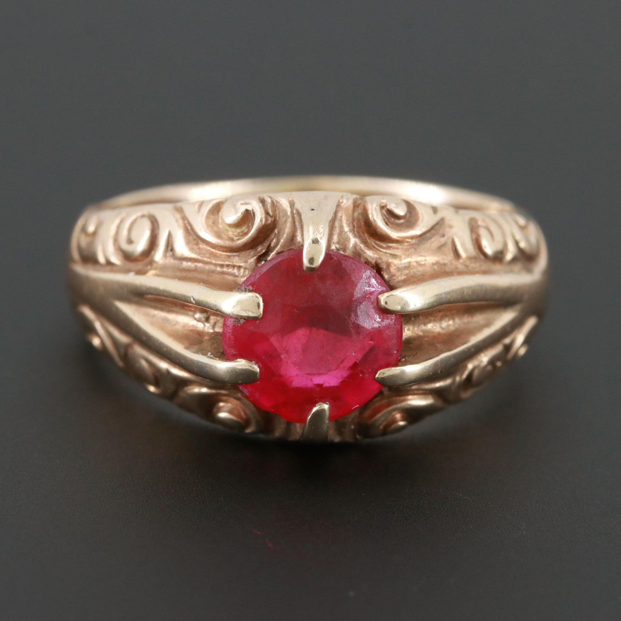 Late Victorian 10K Yellow Gold Synthetic Ruby Ring