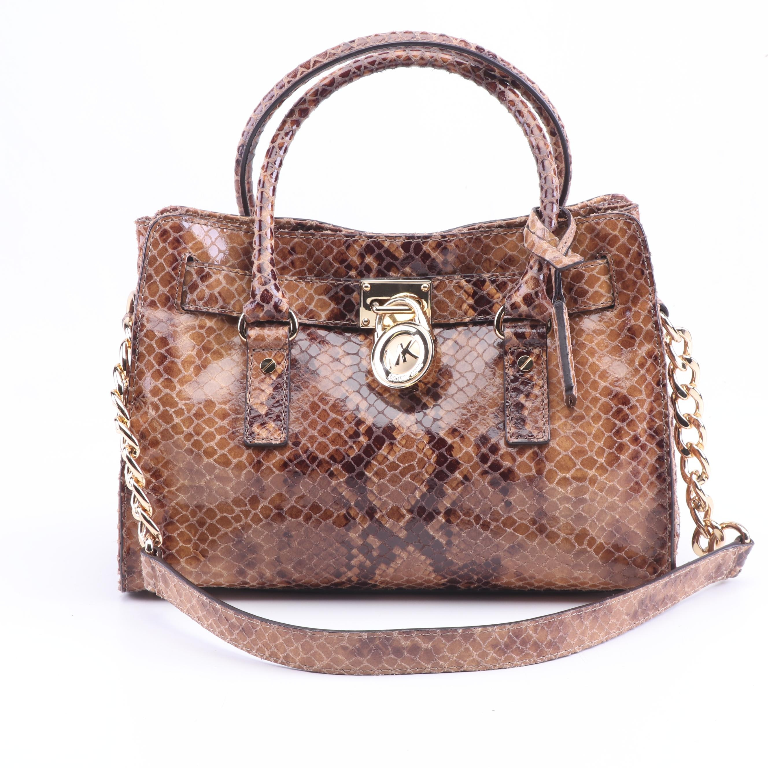 MICHAEL Michael Kors Hamilton Python Embossed Leather Convertible Handle Bag