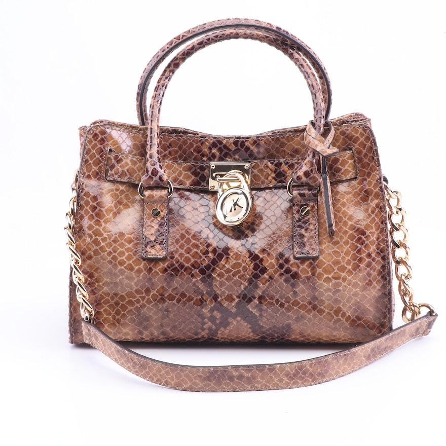 beec04167fcea8 MICHAEL Michael Kors Hamilton Python Embossed Leather Convertible Handle Bag  ...