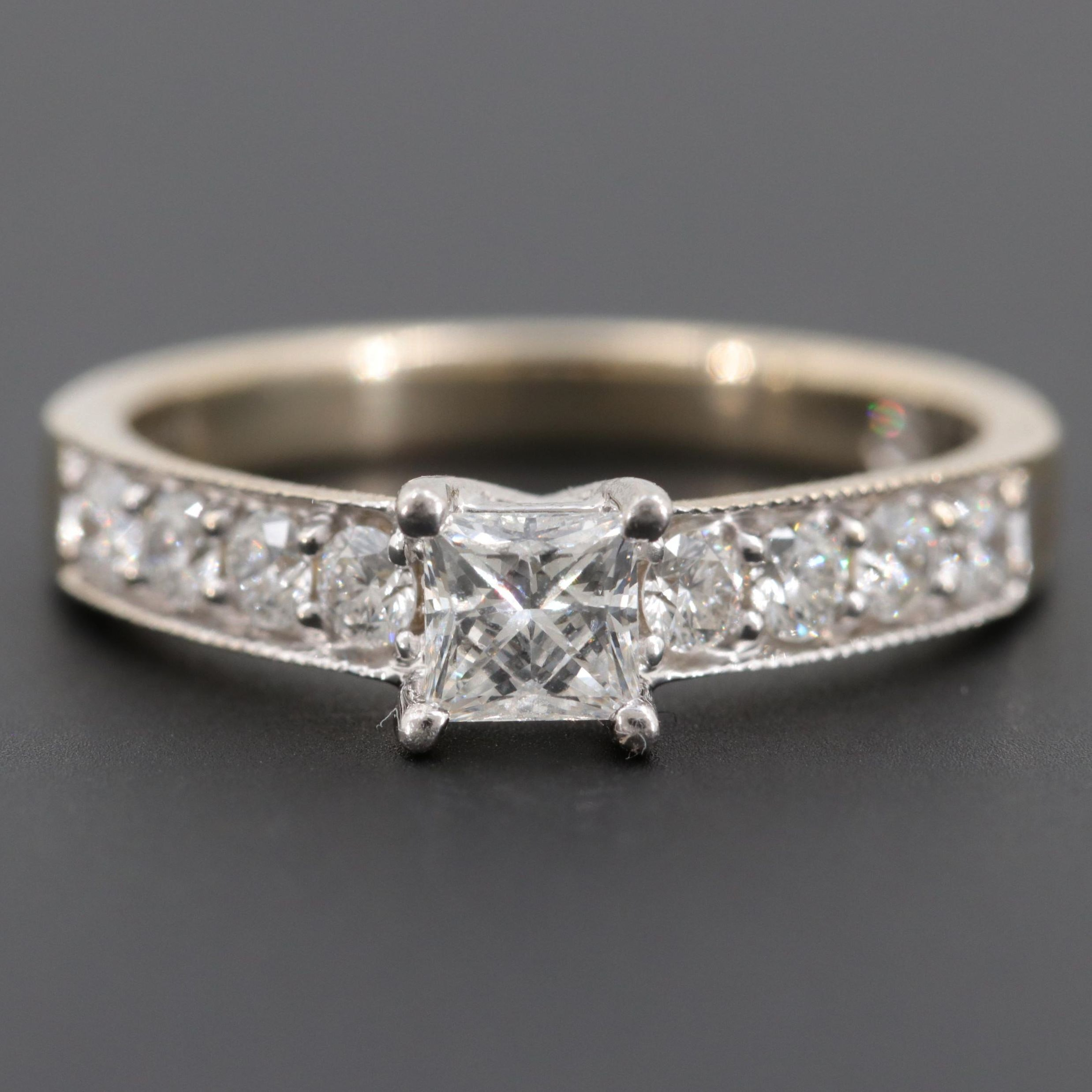 Leo 14K White Gold Diamond Ring with Platinum Accent