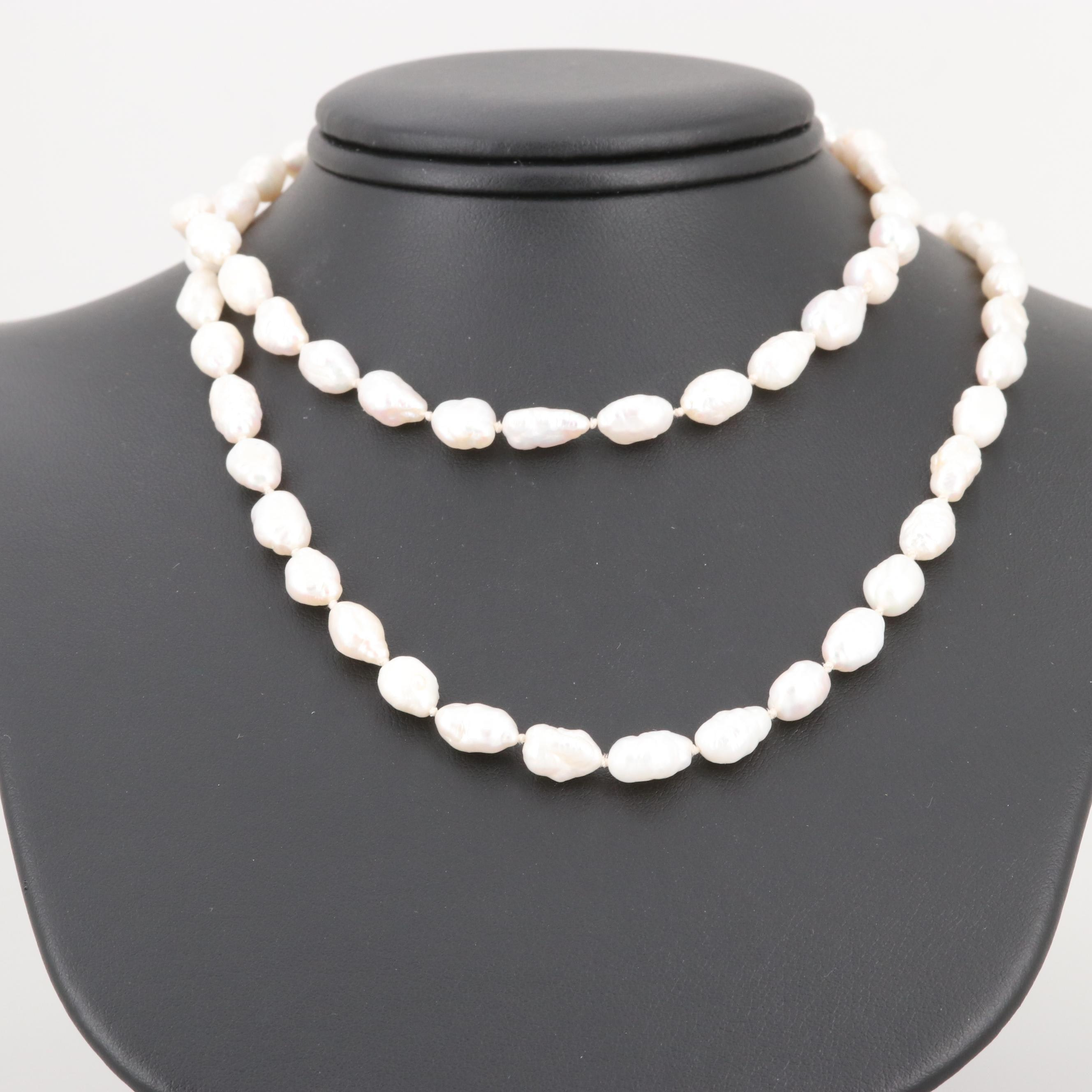 Cultured Pearl Individually Knotted Necklace with 14K Yellow Gold Clasp