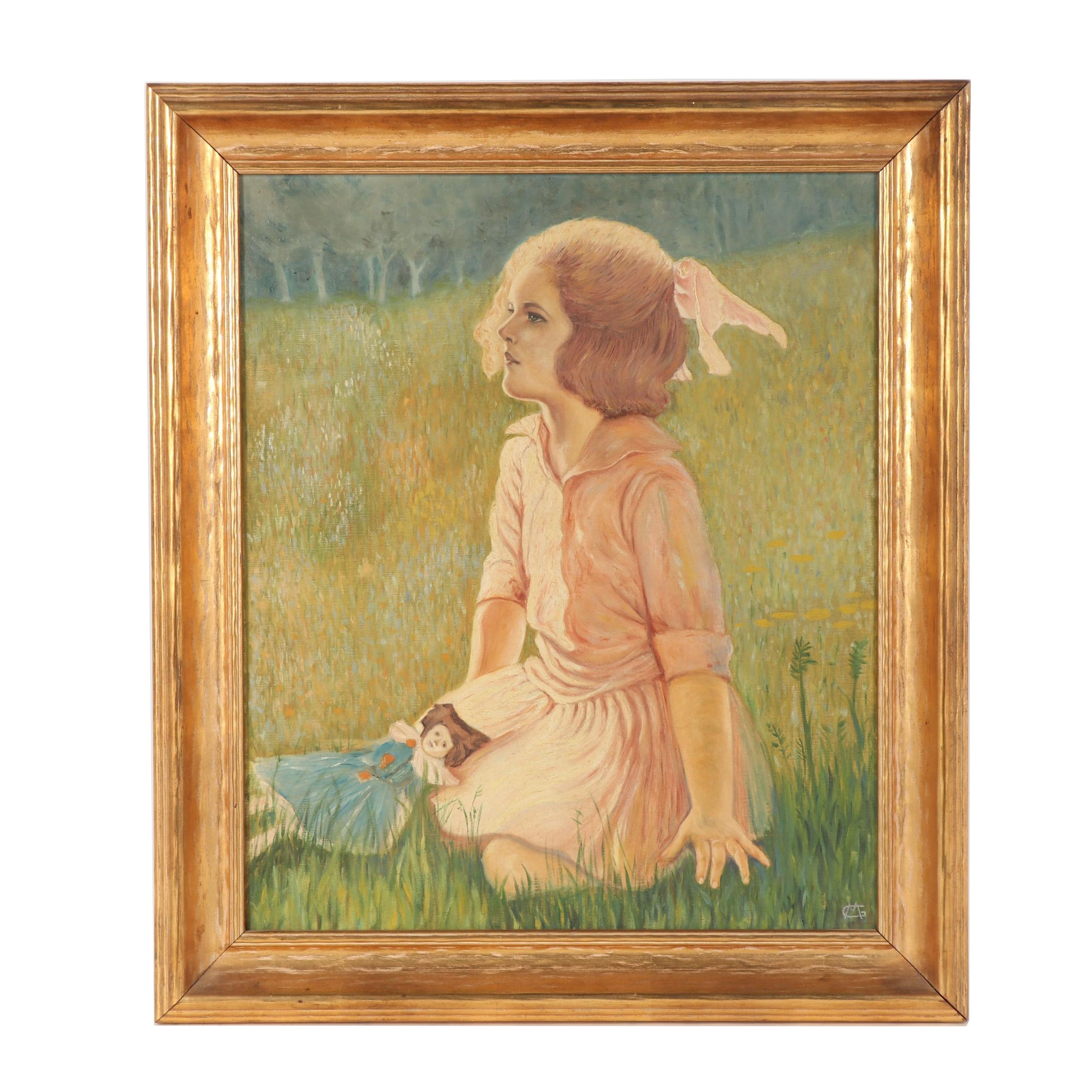 Early-Mid 20th Century Figural Oil Painting