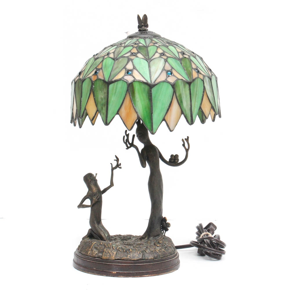 """Disney """"Flowers and Trees"""" Bronze Lamp with Stained Glass Shade"""