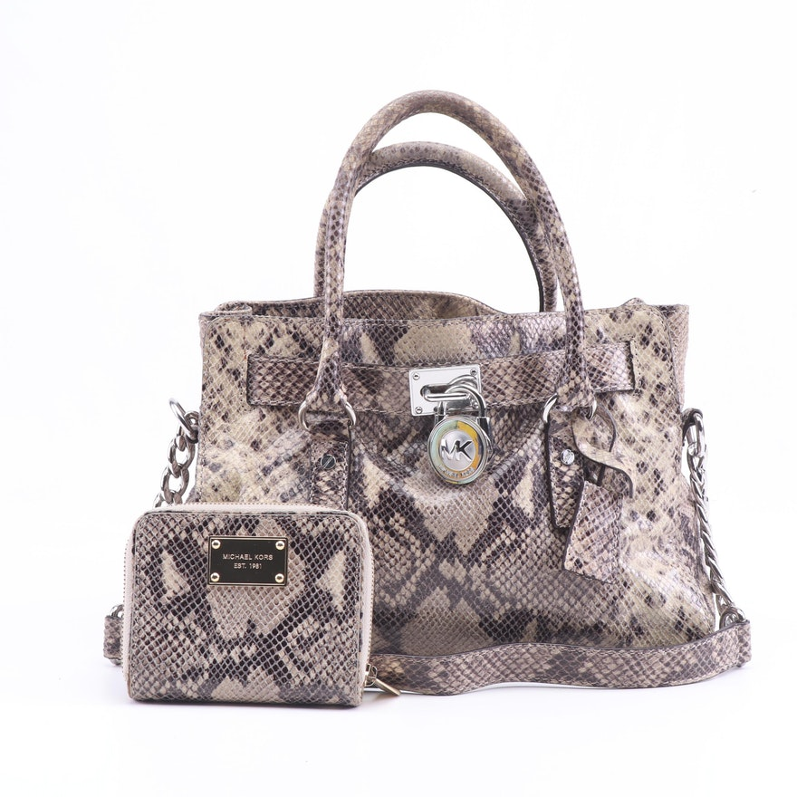 7218560d8441af MICHAEL Michael Kors Hamilton Python Embossed Leather Convertible Bag and  Wallet : EBTH
