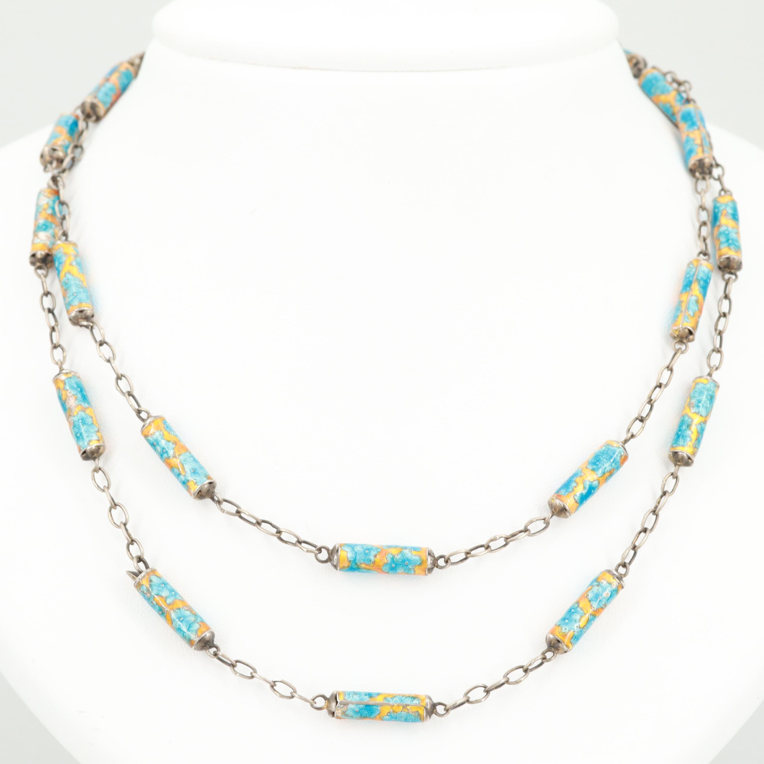Chinese Sterling Silver Enamel Beaded Necklace