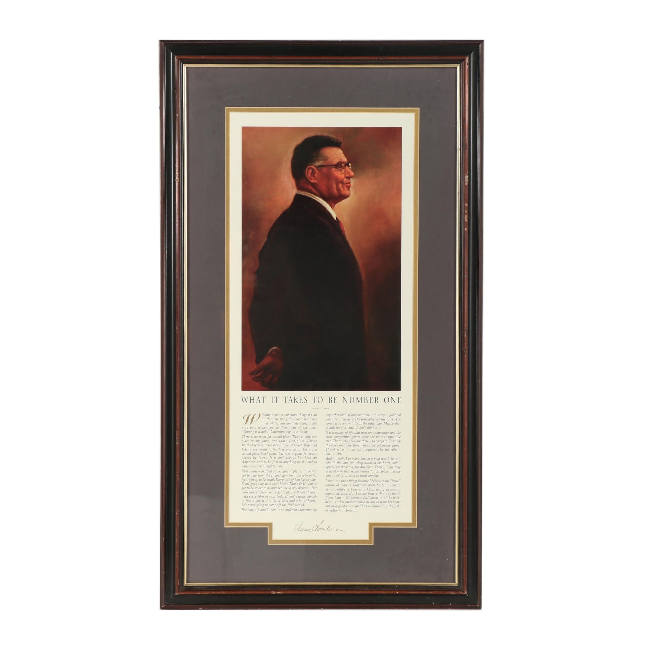 "Framed Vince Lombardi ""What It Takes To Be Number One"" Offset Lithograph"