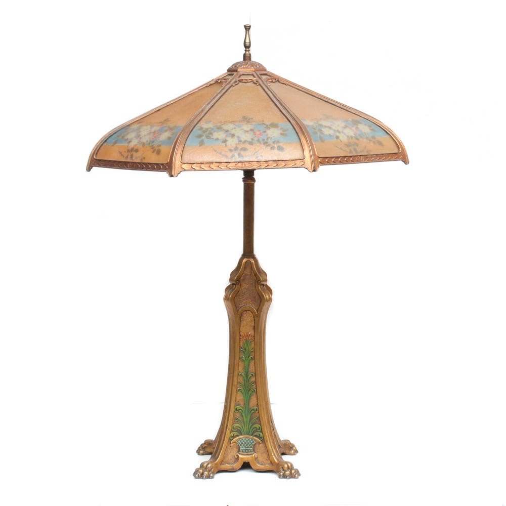 Art Nouveau Metal Paw Foot Lamp with Reverse Painted Glass Shade