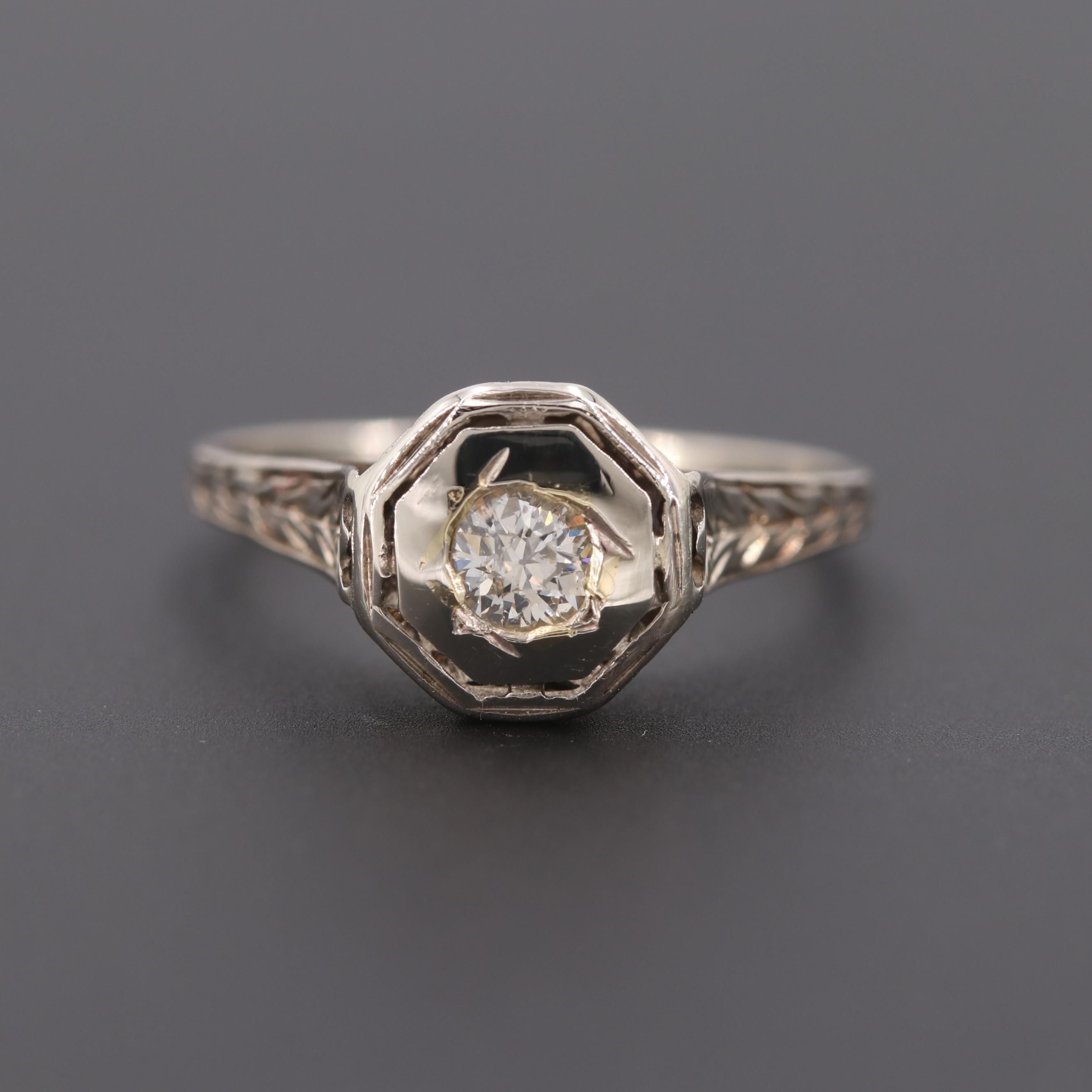 Circa 1930s 14K White Gold Diamond Ring