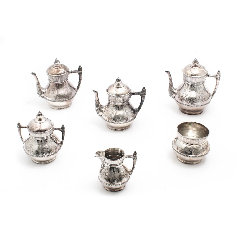 Southington Aesthetic Period Silver Plate Coffee and Tea Service