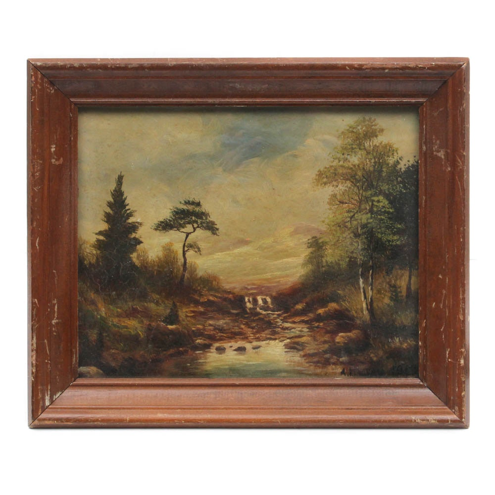 19th Century T. Lindsay Landscape Oil Painting