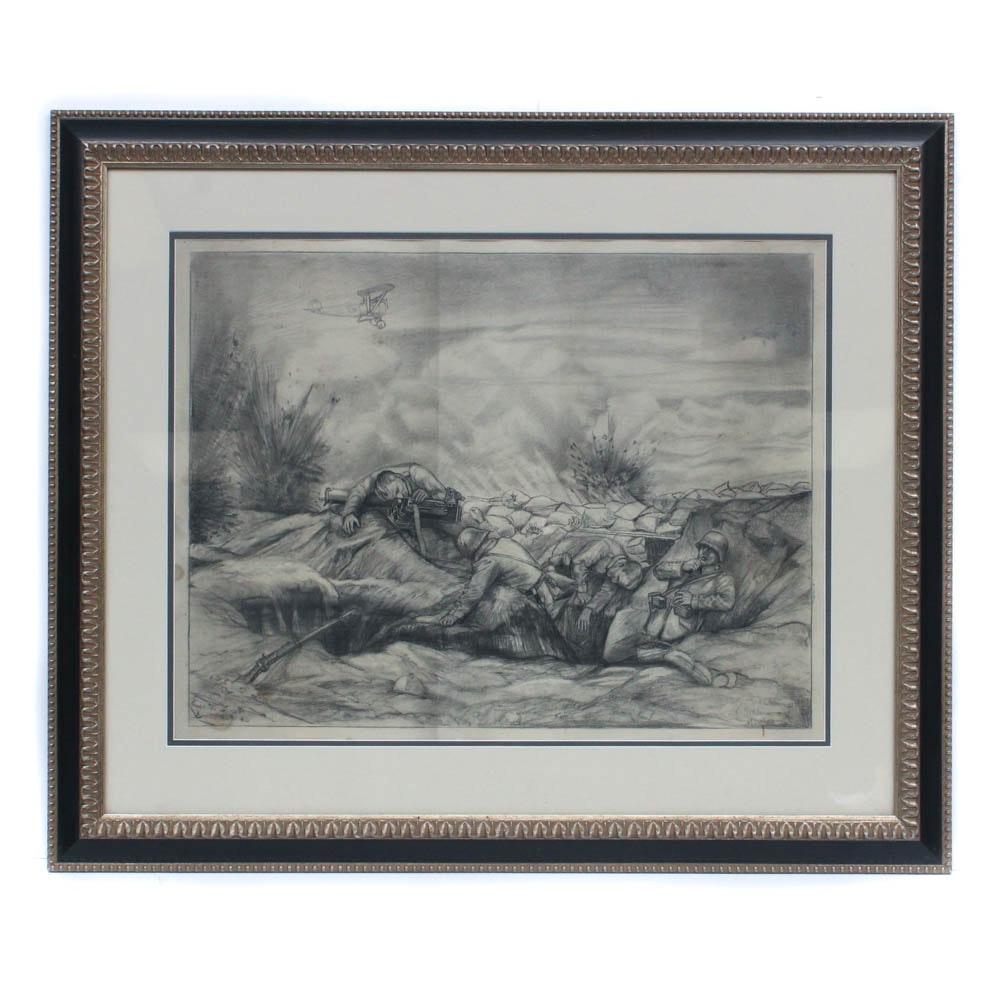 World War I Battle Scene Graphite Drawing