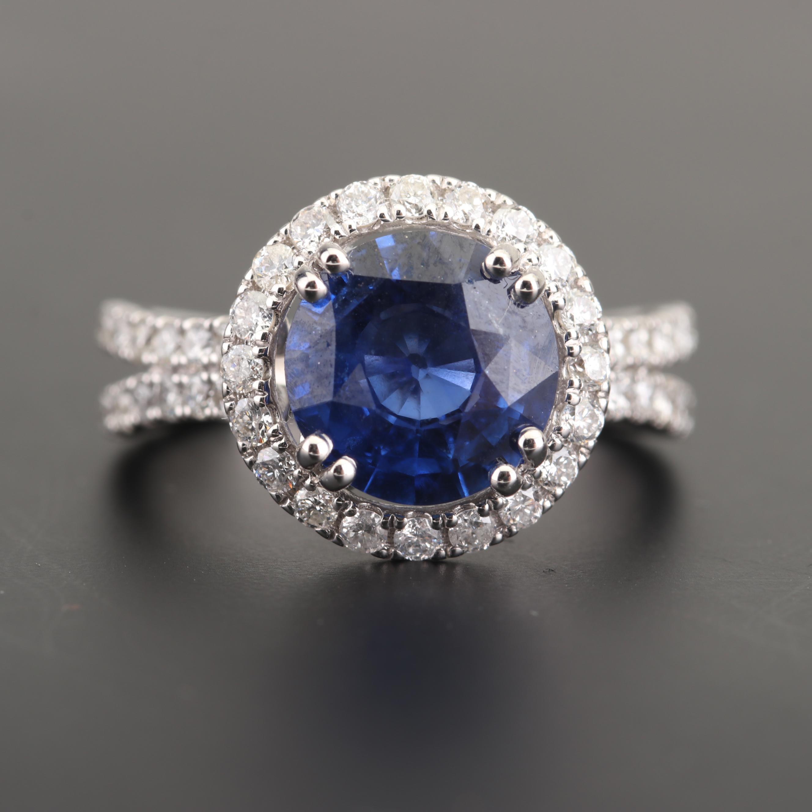 14K White Gold 2.95 CT Sri Lankan Sapphire and 1.27 CTW Diamond Ring with GIA