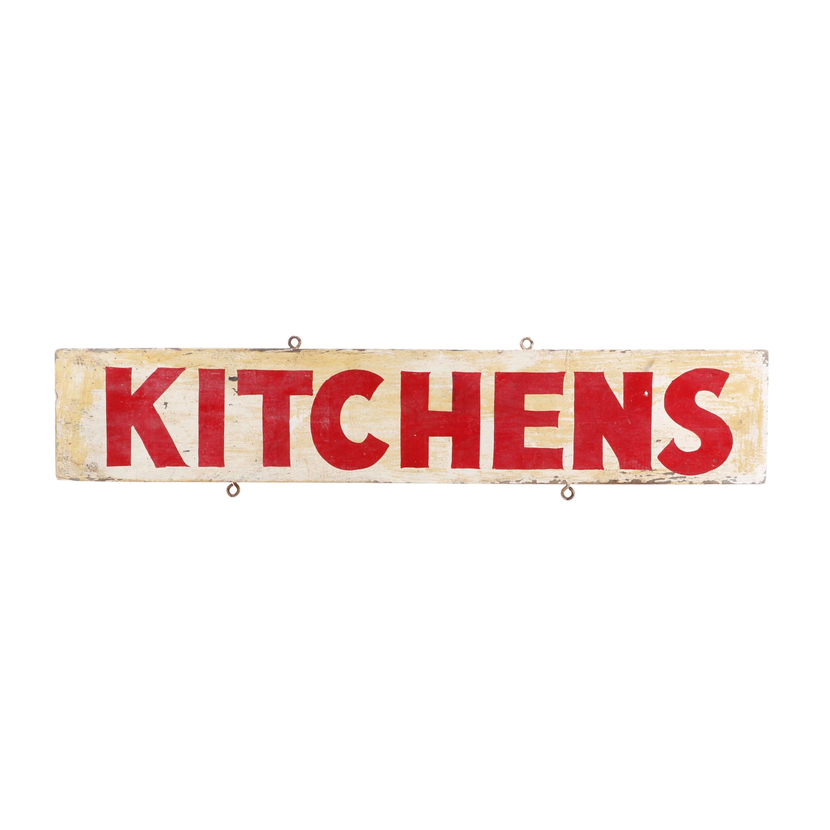"""Painted Wood """"Kitchens"""" Sign"""