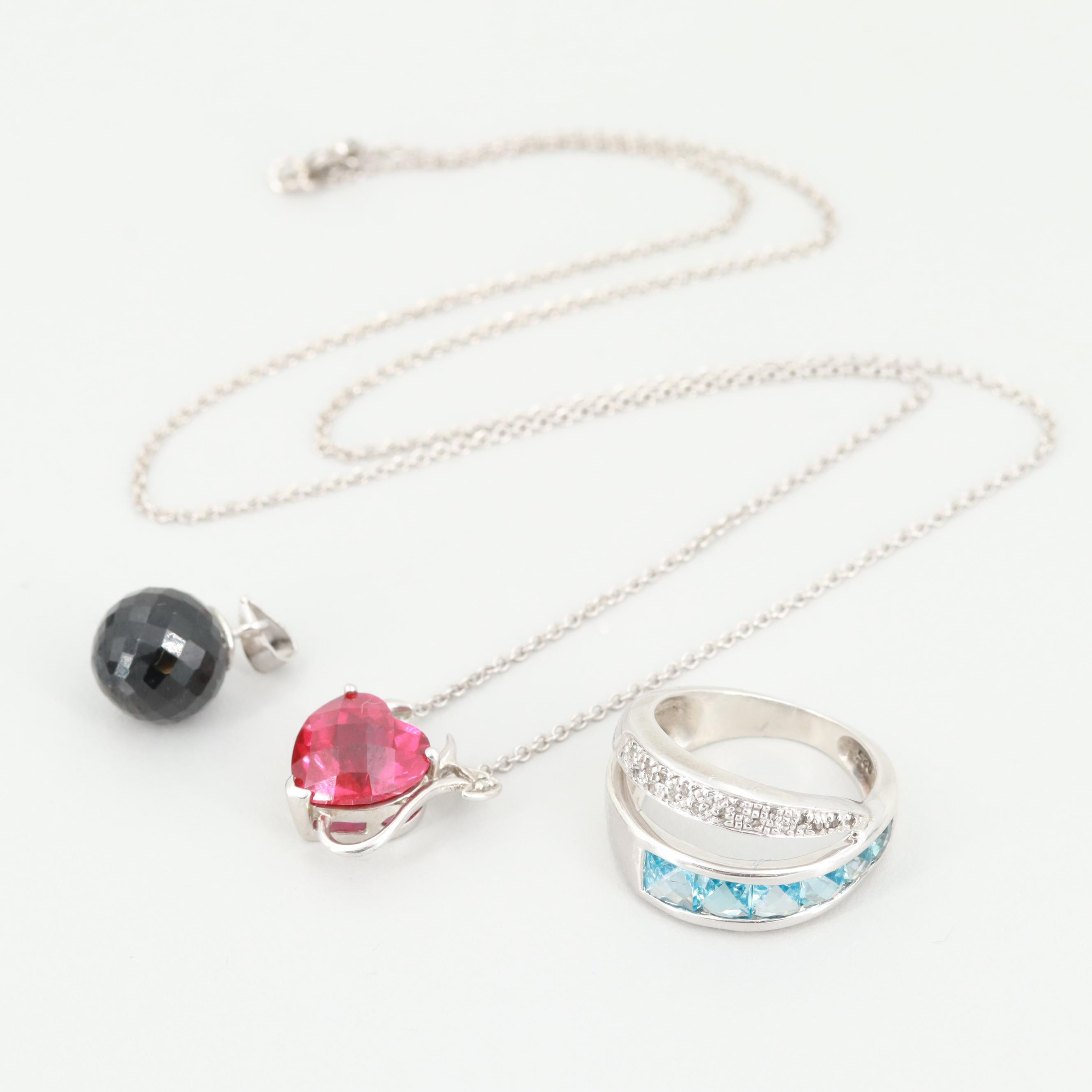 Sterling Silver Heart Necklace, Ring and Pendant with Onyx, Ruby and Topaz