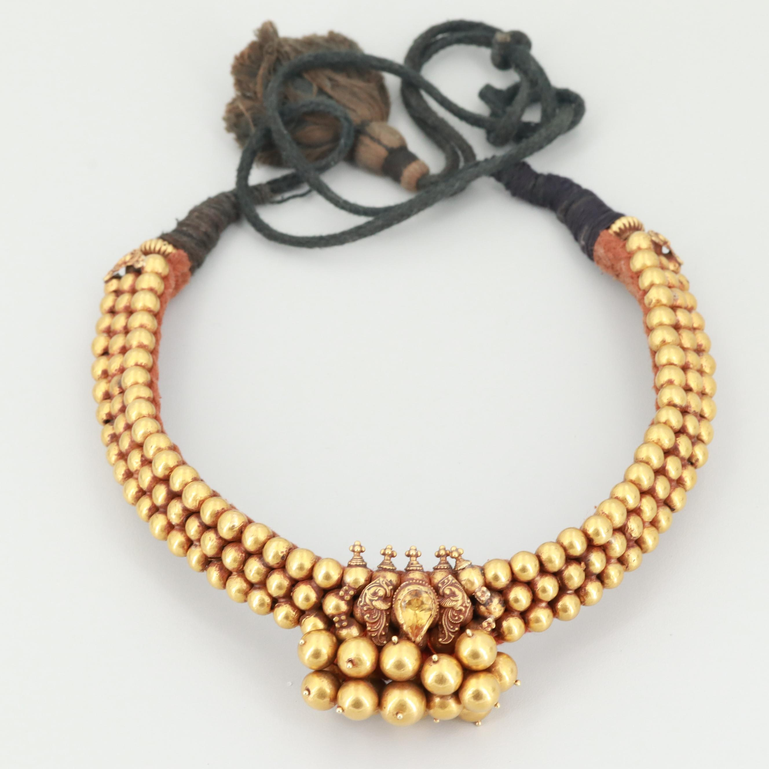 Indian Style Gold Tone Beaded Bib Necklace with Citrine Accent