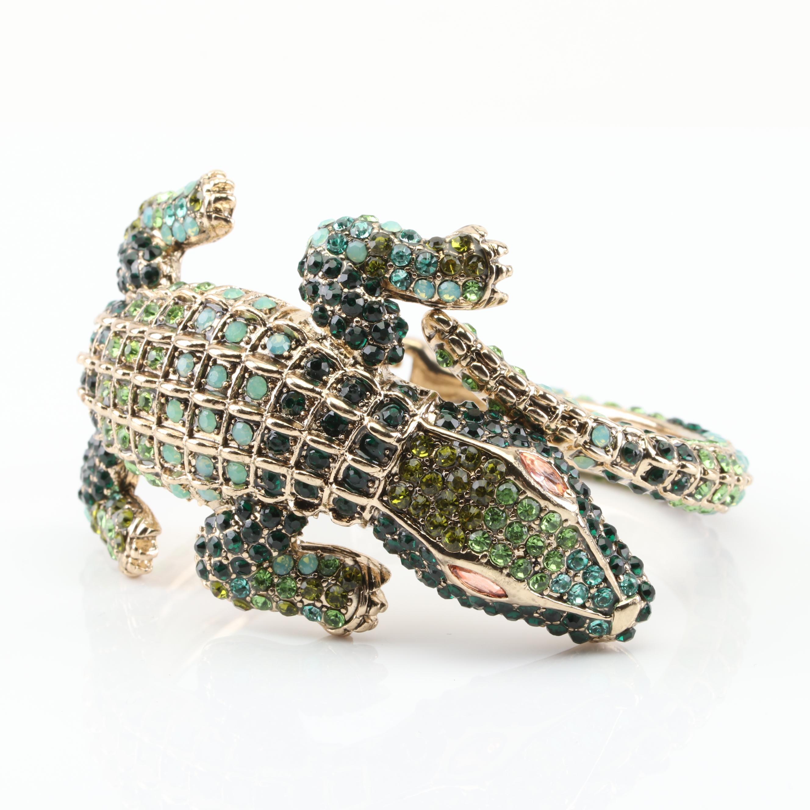 Betsy Johnson Gold Tone and Rhinestone Alligator Bracelet