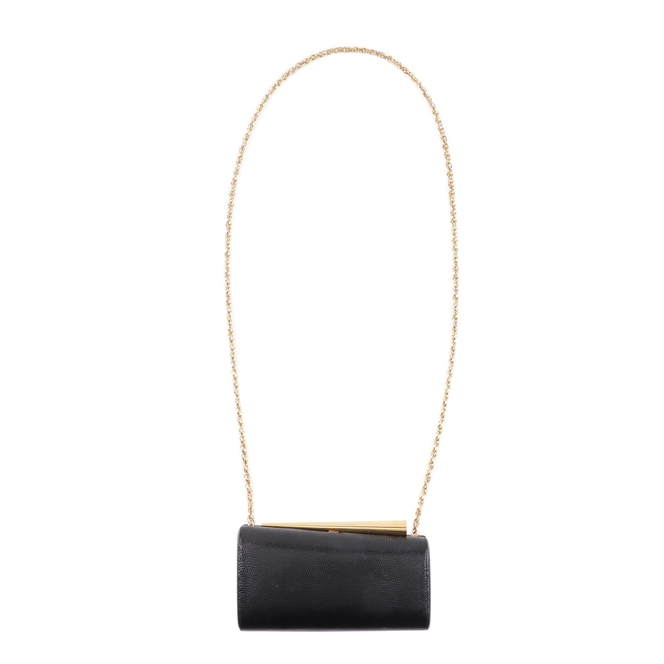 Rodo Lizard Embossed Black Leather Chain Strap Shoulder Bag