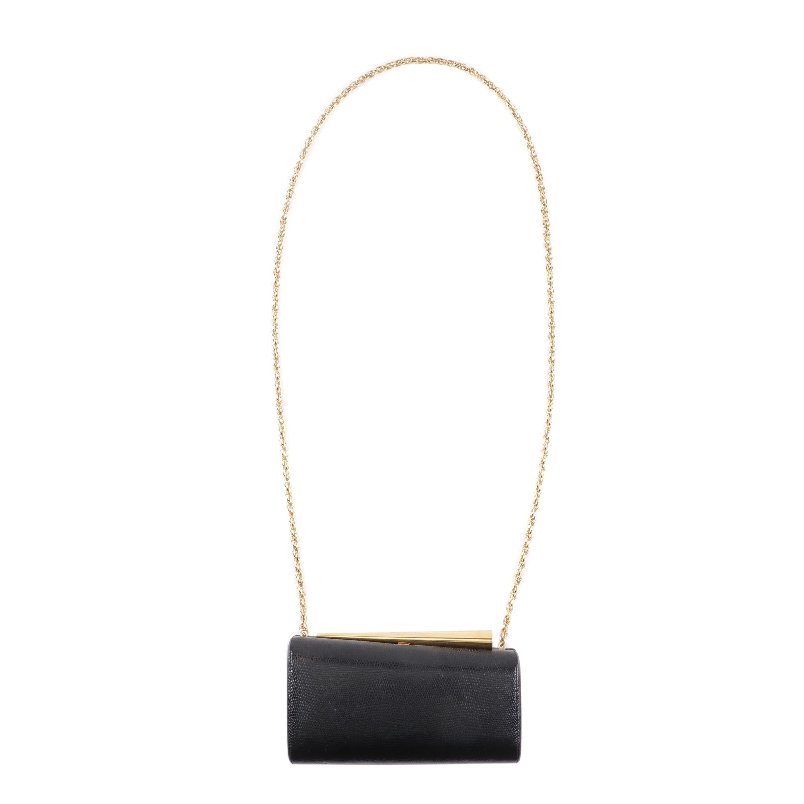 Rodo Lizard Embossed Black Leather Chain Strap Shoulder Bag