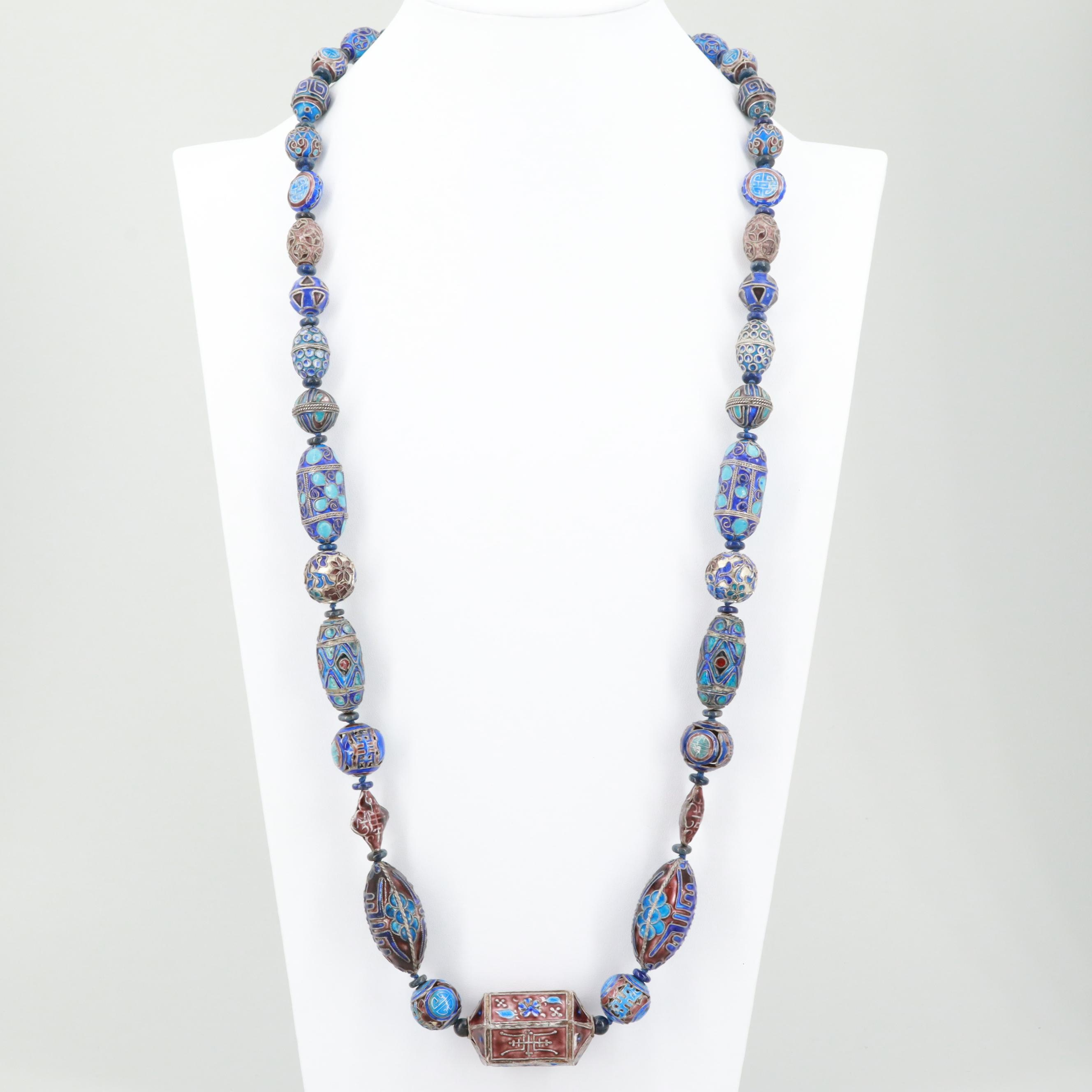 "Chinese Cloisonné and Lapis Lazuli Bead ""Longevity"" Necklace with Sterling Clasp"