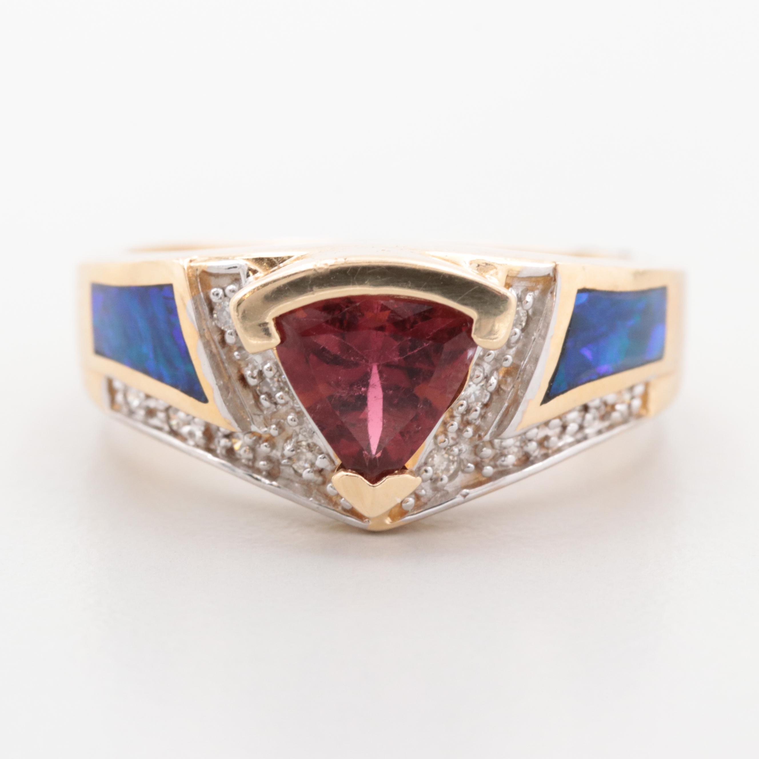 14K Yellow Gold Tourmaline, Diamond and Opal Ring