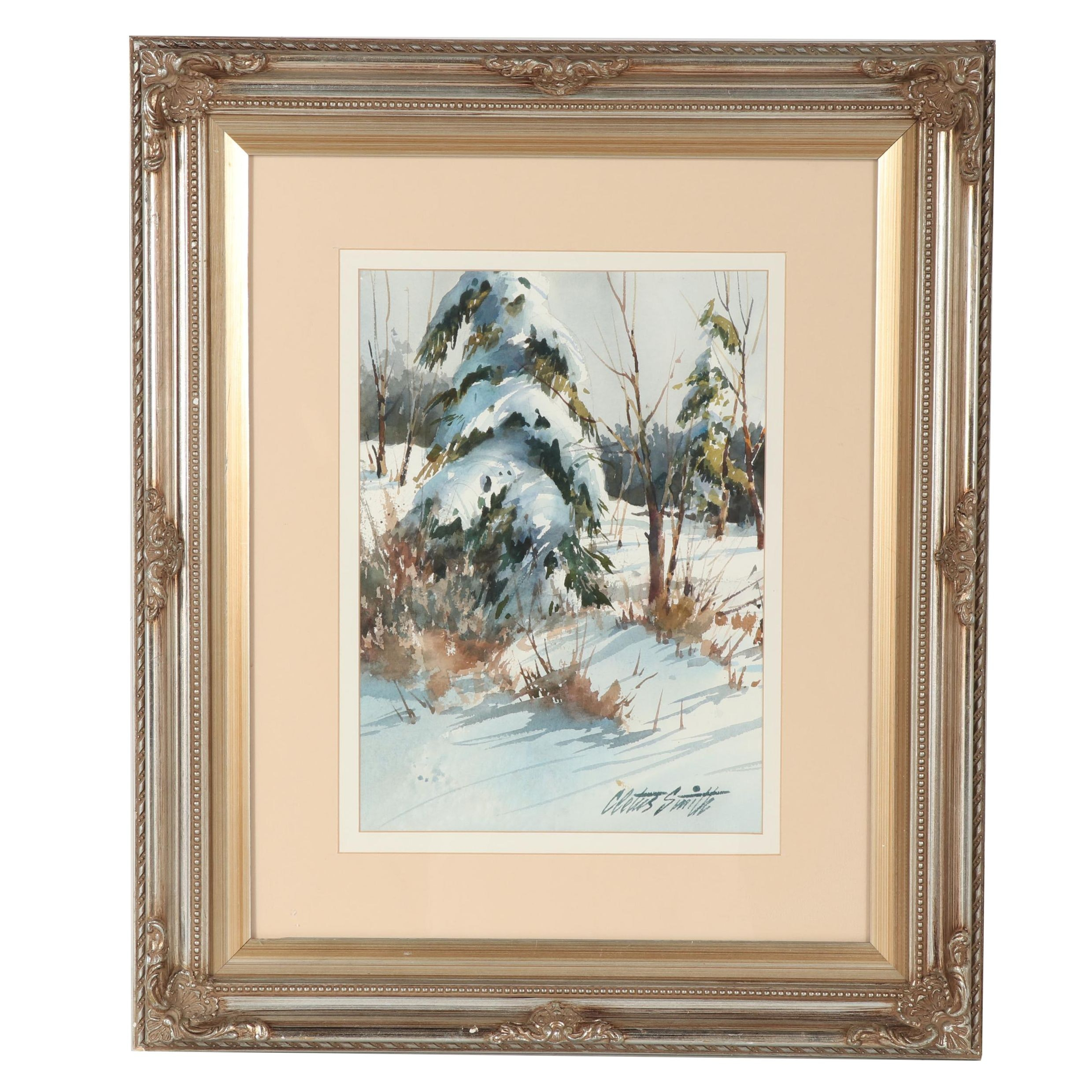 Cletus Smith Winter Landscape Watercolor Painting