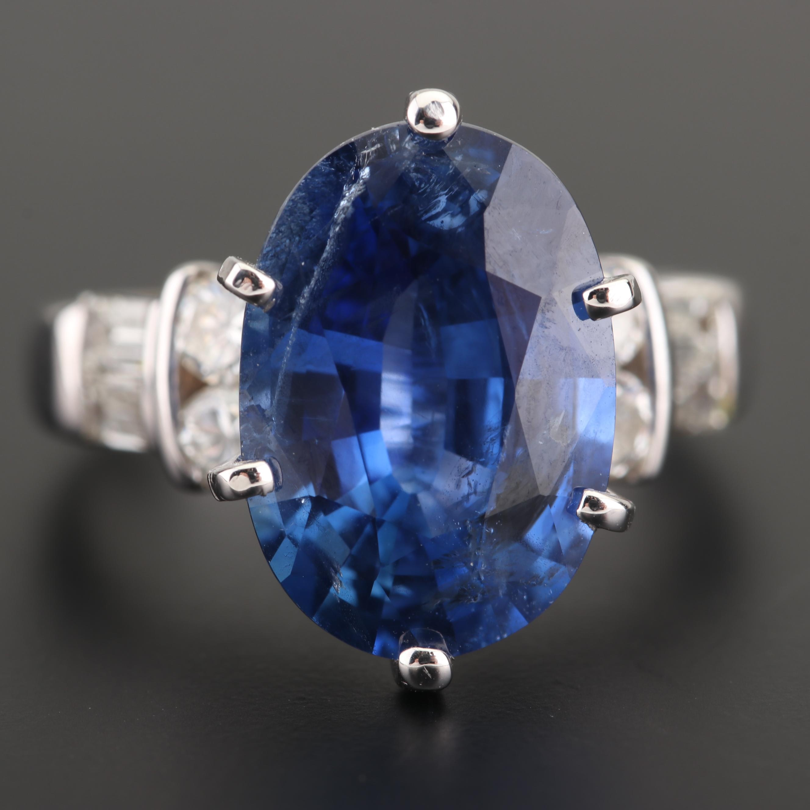 14K White Gold 5.86 CT Sri Lankan Sapphire and Diamond Ring with GIA Report