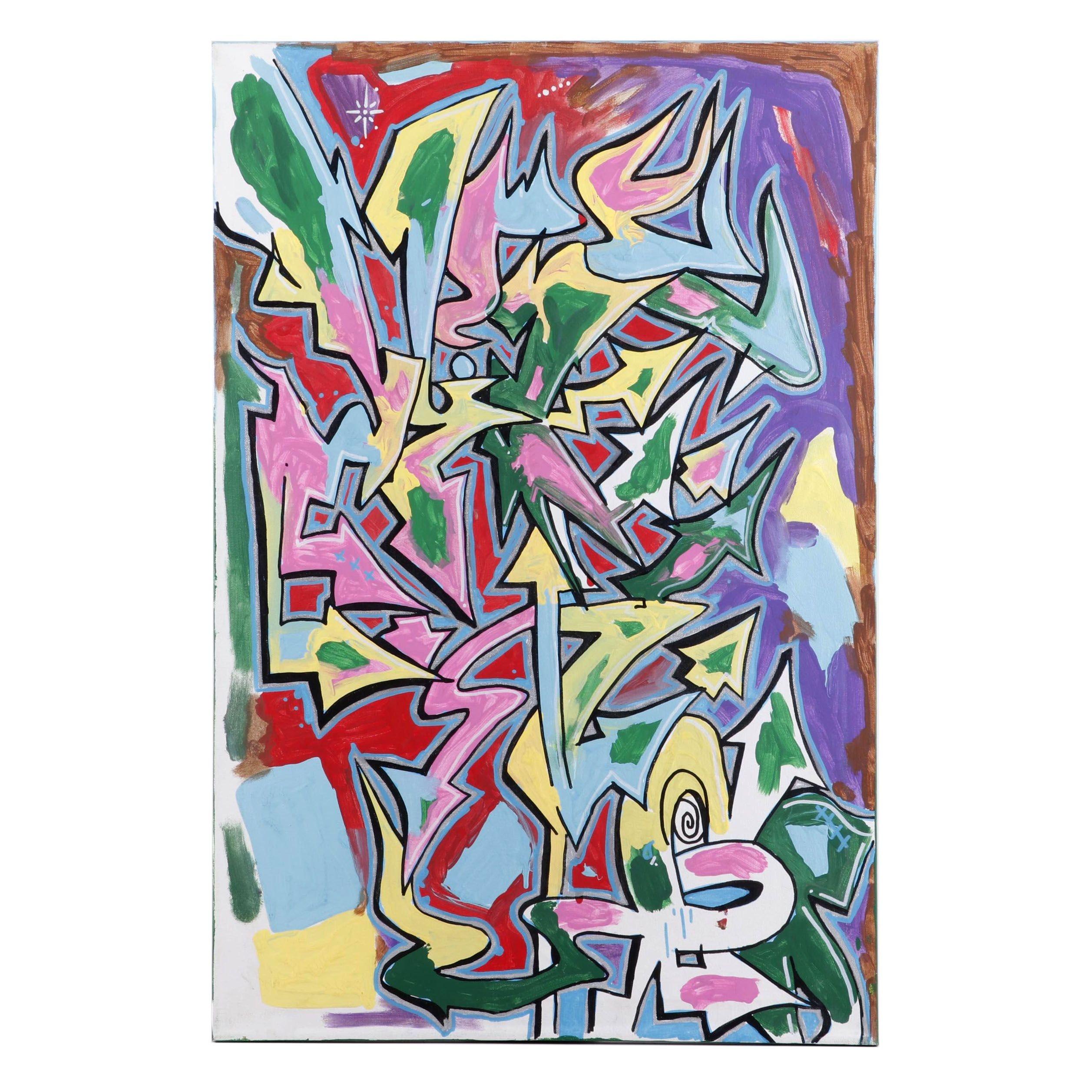 Abstract Graffiti Style Acrylic Painting