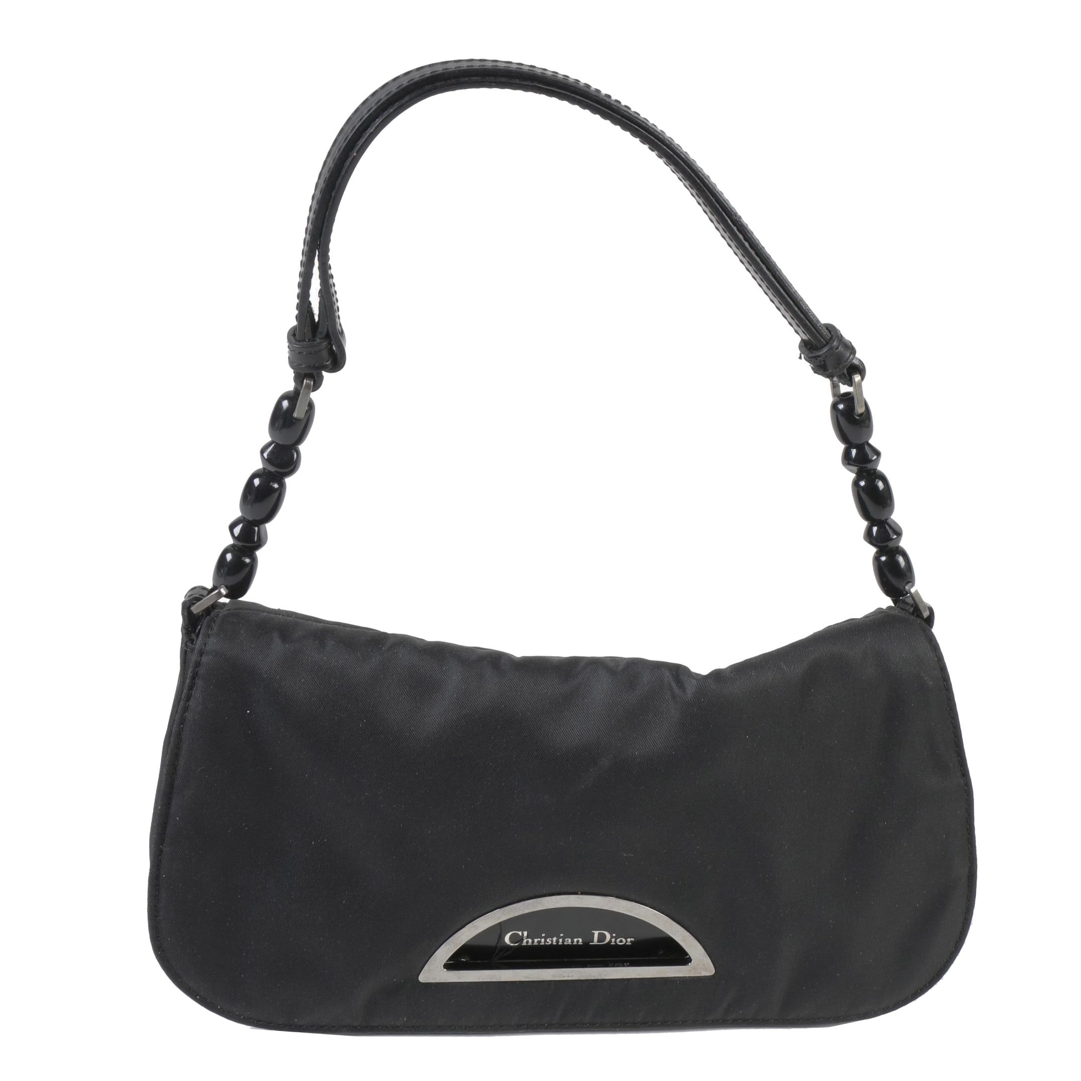 Christian Dior Black Satin and Leather Malice Shoulder Bag