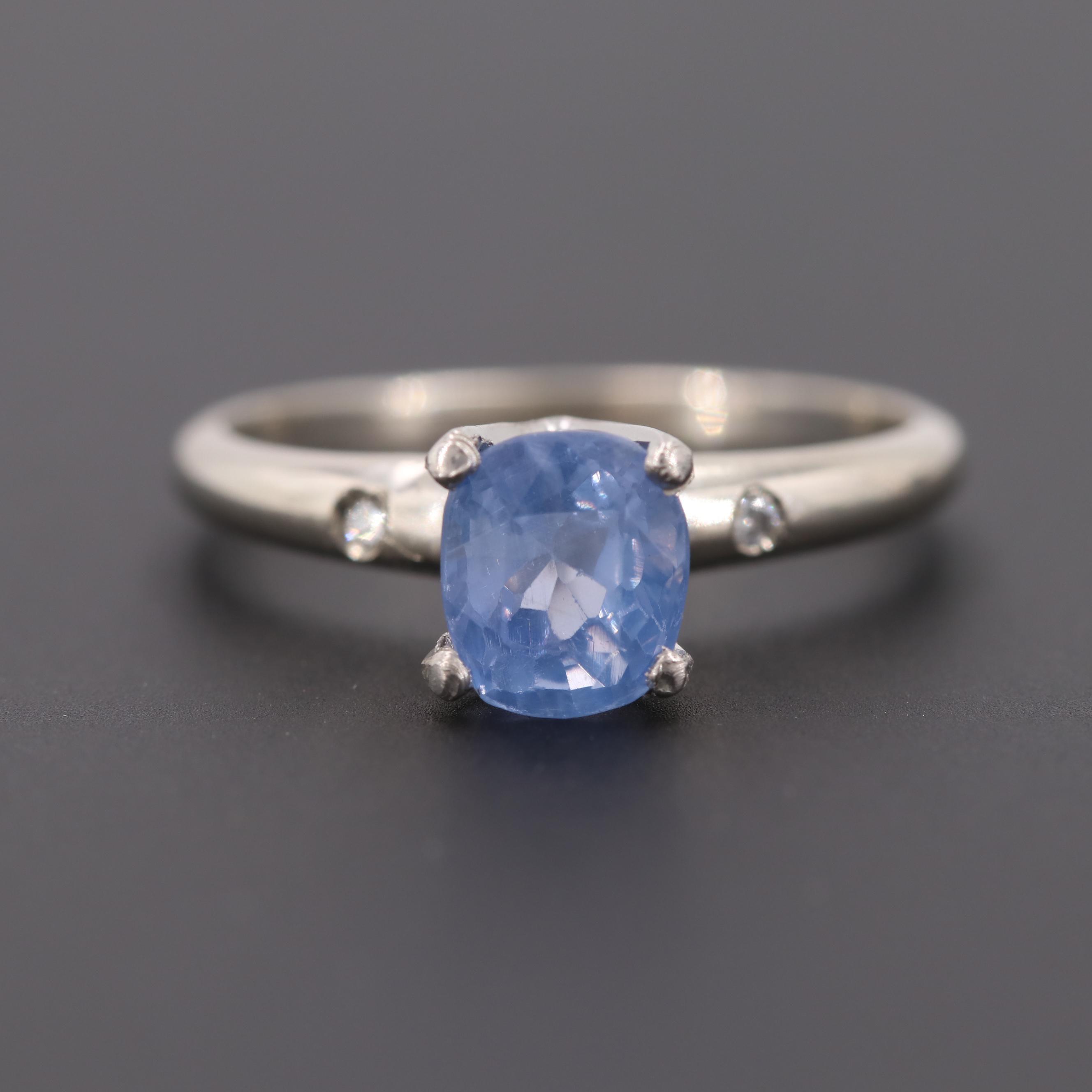14K White Gold 1.37 CT Sapphire and Diamond Ring with Palladium Head