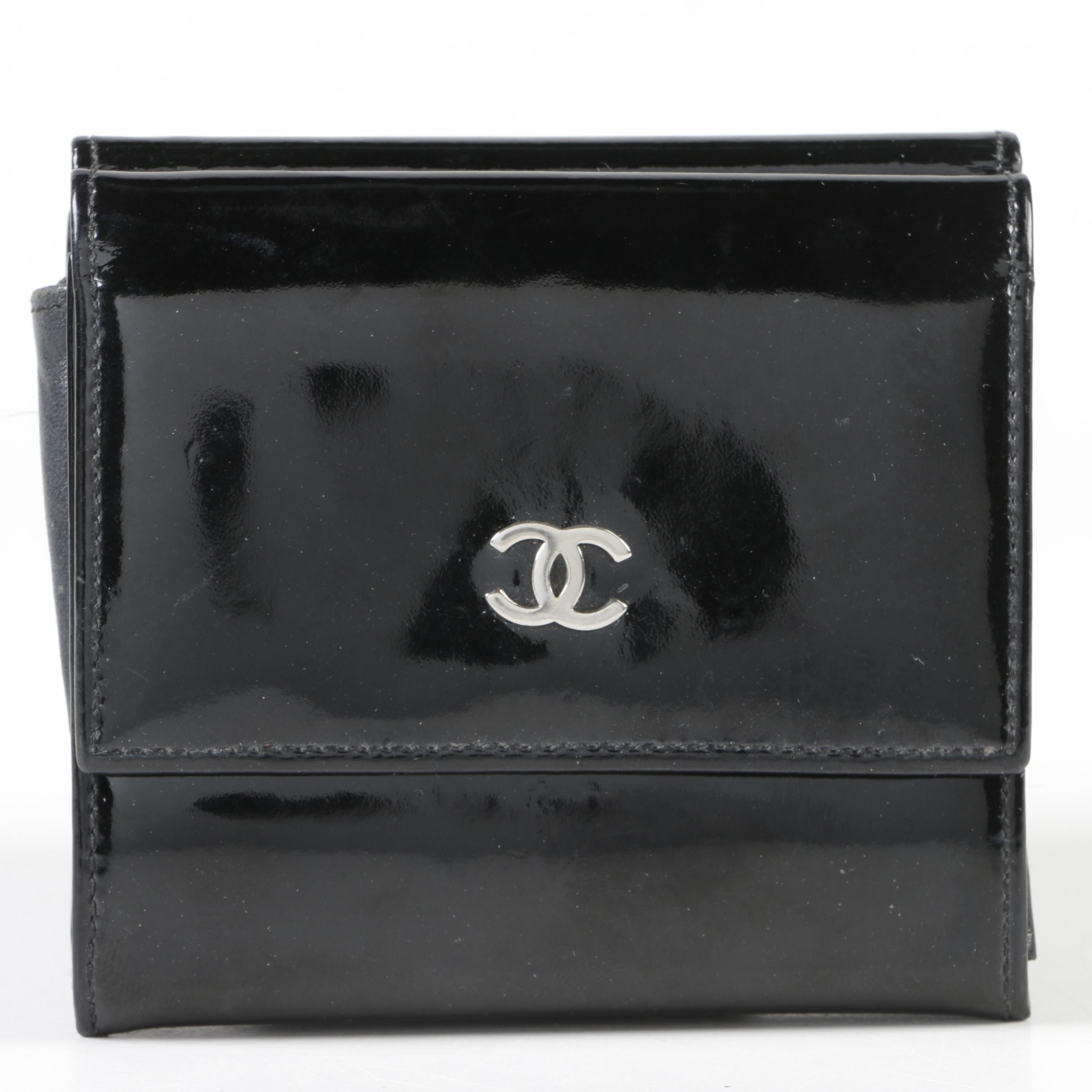 Chanel Black Patent Leather Double-Sided Wallet