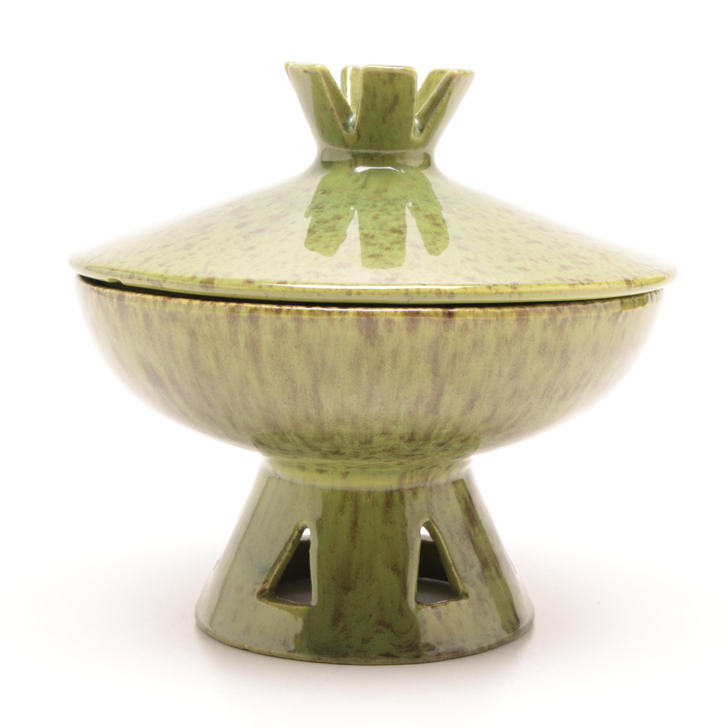 Haeger Pottery Green Lidded Pedestal Bowl