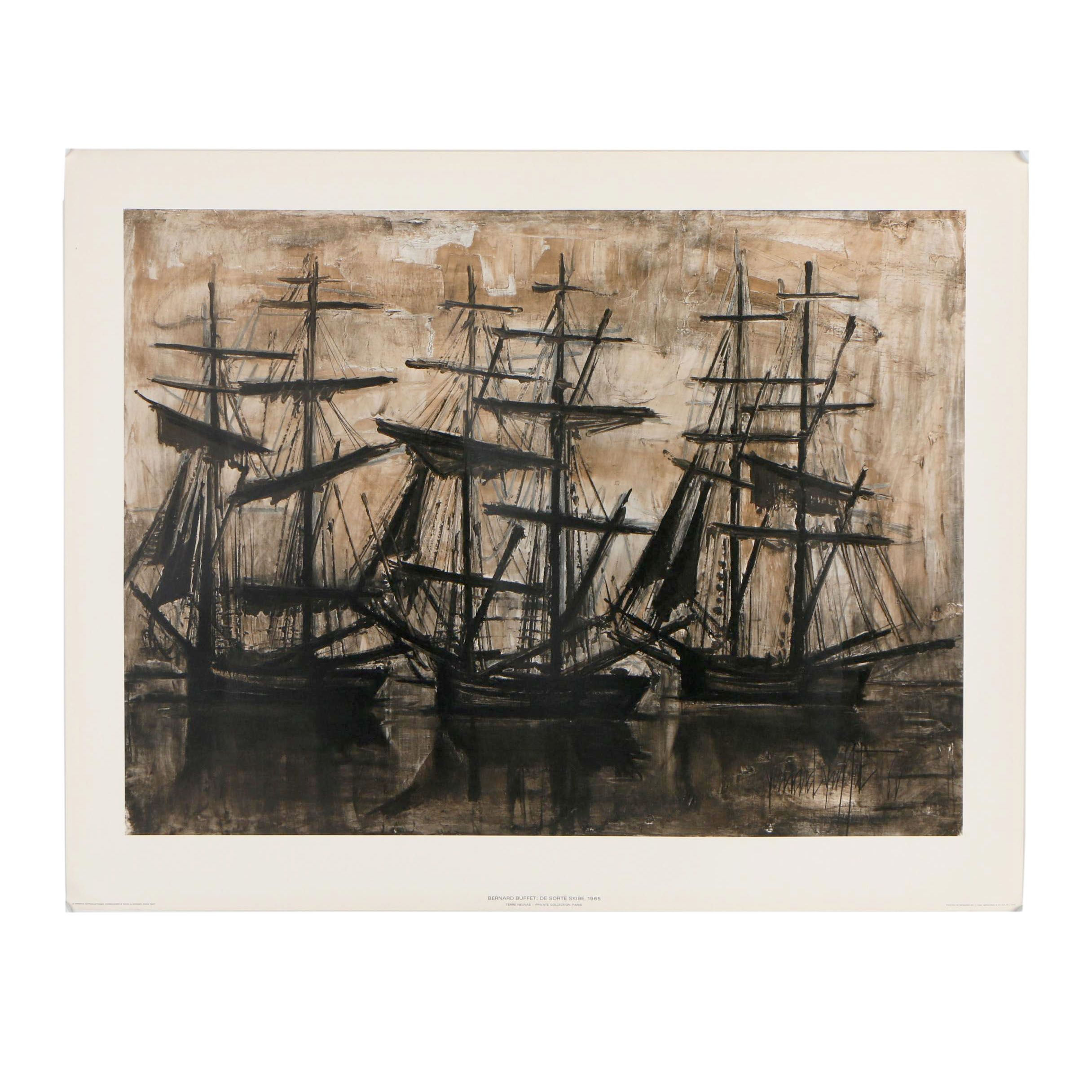 "After Bernard Buffet Lithograph ""De Sorte Skibe (The Black Ships)"""